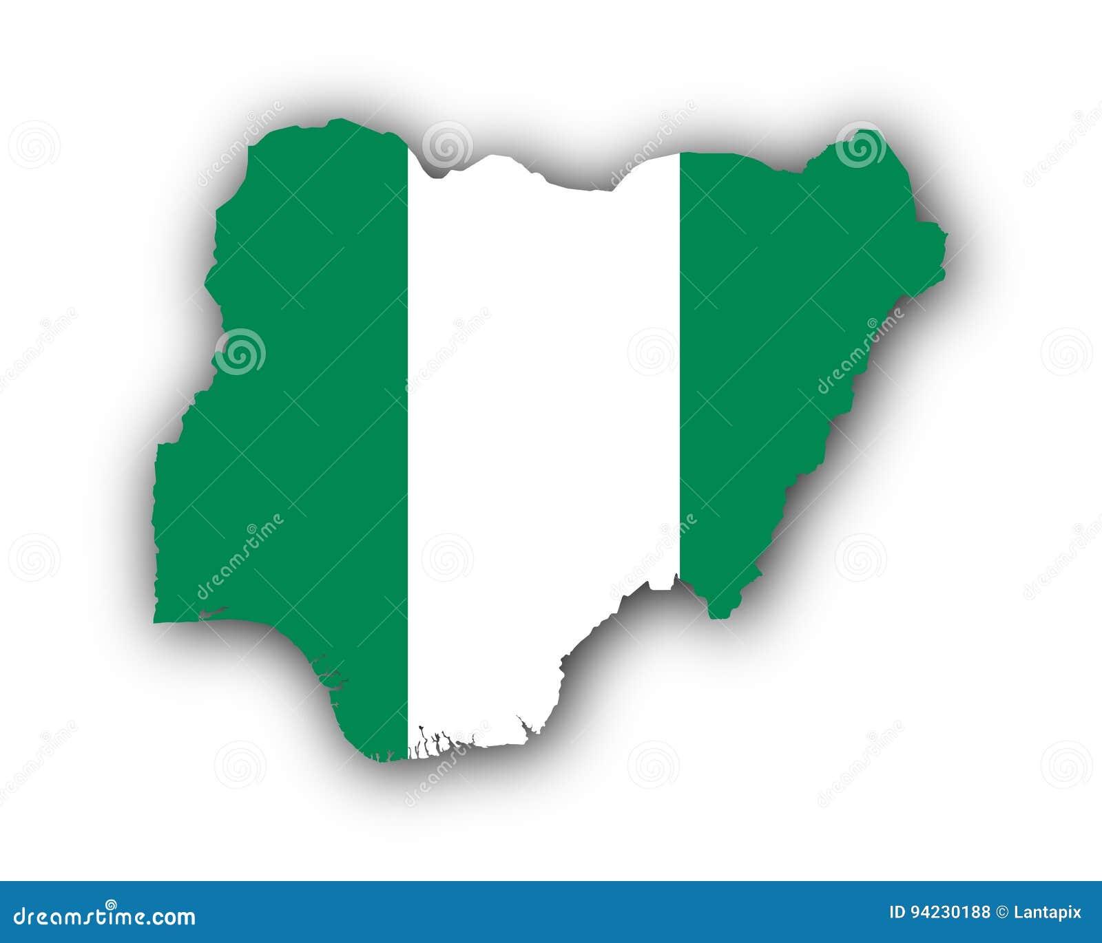 Mapa y bandera de Nigeria ilustración del vector. Ilustración de ...