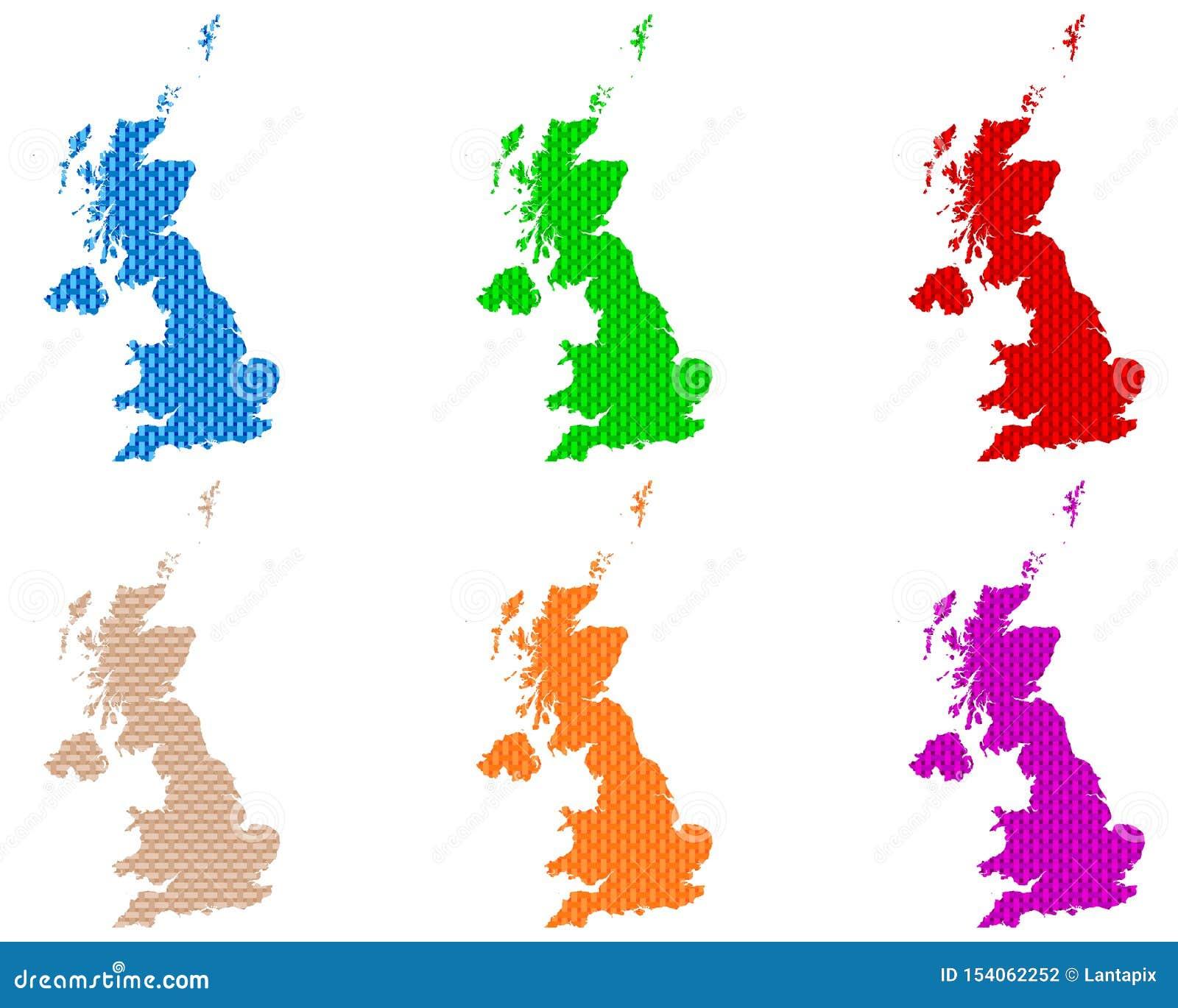Mapas de grosseiro de Grâ Bretanha engrenado
