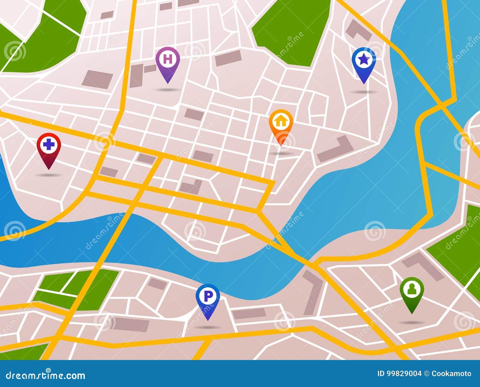 Mapa Plano Con Pin Icono De Puntero De La: Mapas De La Navegación Con Los Iconos De Los Pernos De
