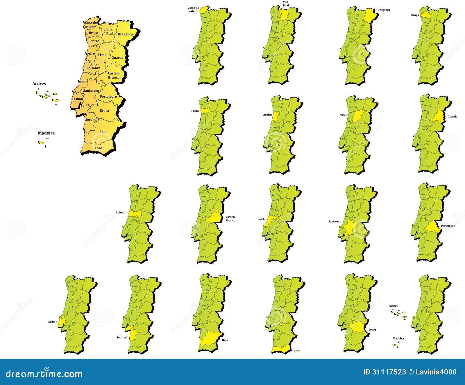mapa provincias de portugal Mapas De Las Provincias De Portugal Ilustración del Vector  mapa provincias de portugal