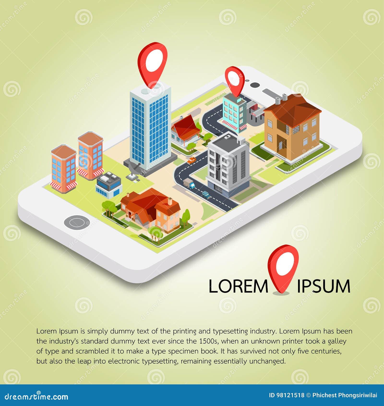 Mapas móviles isométricos planos de la navegación GPS 3d