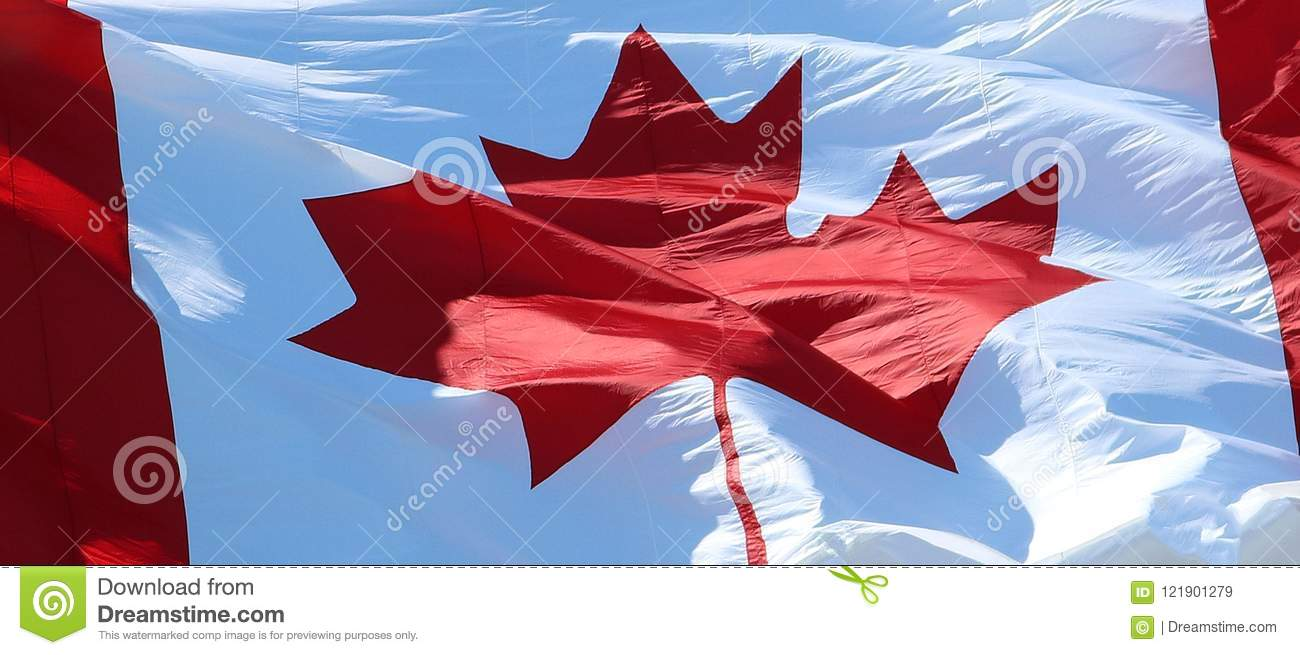 Close-up of Canadian Flag Waving