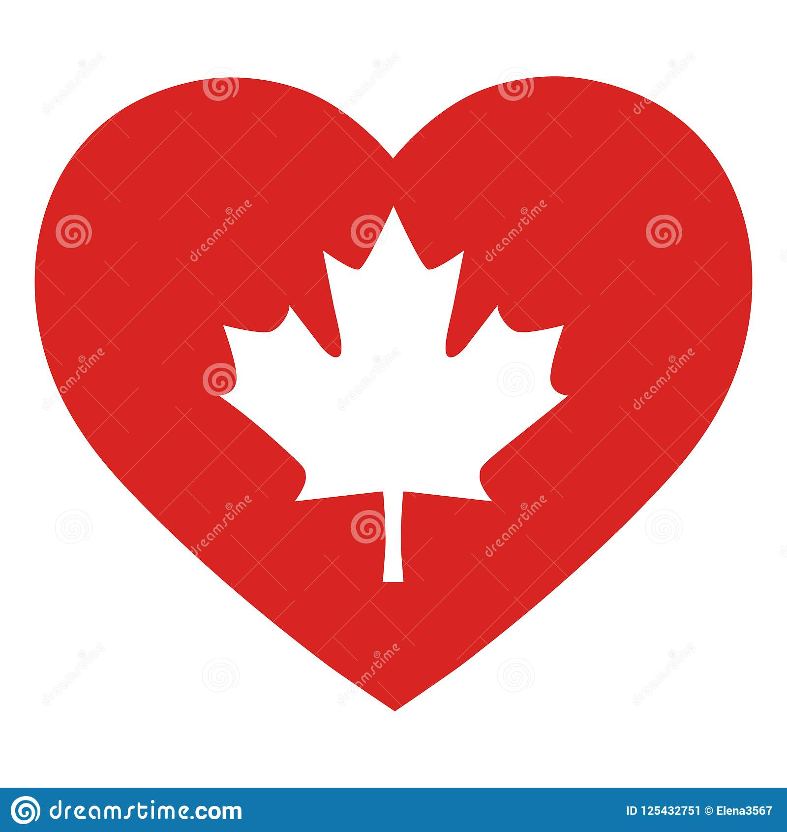 Maple Leaf Symbol Of Canada On A Red Heart Background Stock Vector