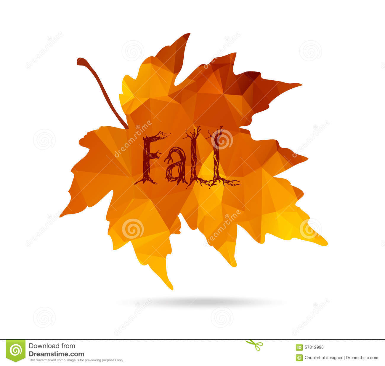 Maple Leaf In Triangular Style With Hand Drawn Word 'Fall ...