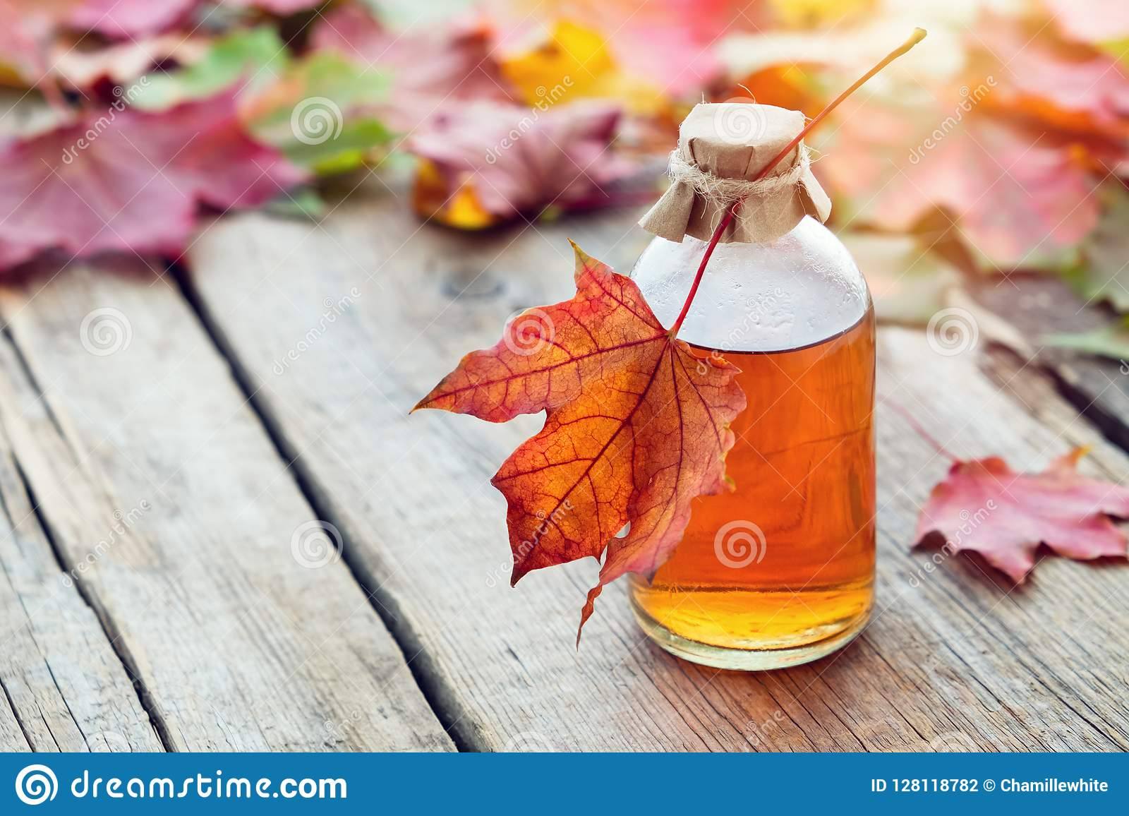 Maple syrup or healthy tincture and maple leaves.