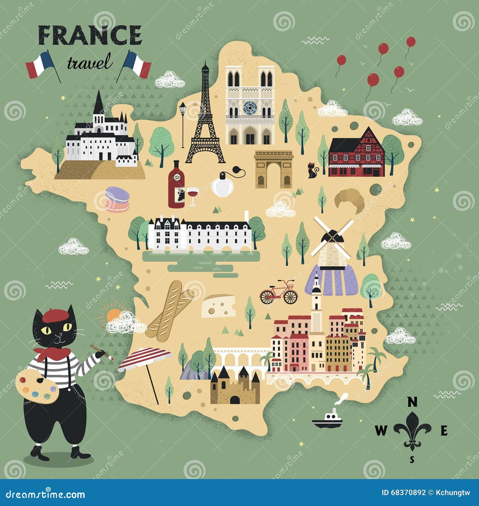 Cartina Della Francia Con Monumenti.Mappa Adorabile Di Viaggio Della Francia Illustrazione Vettoriale Illustrazione Di Estratto Vacanza 68370892