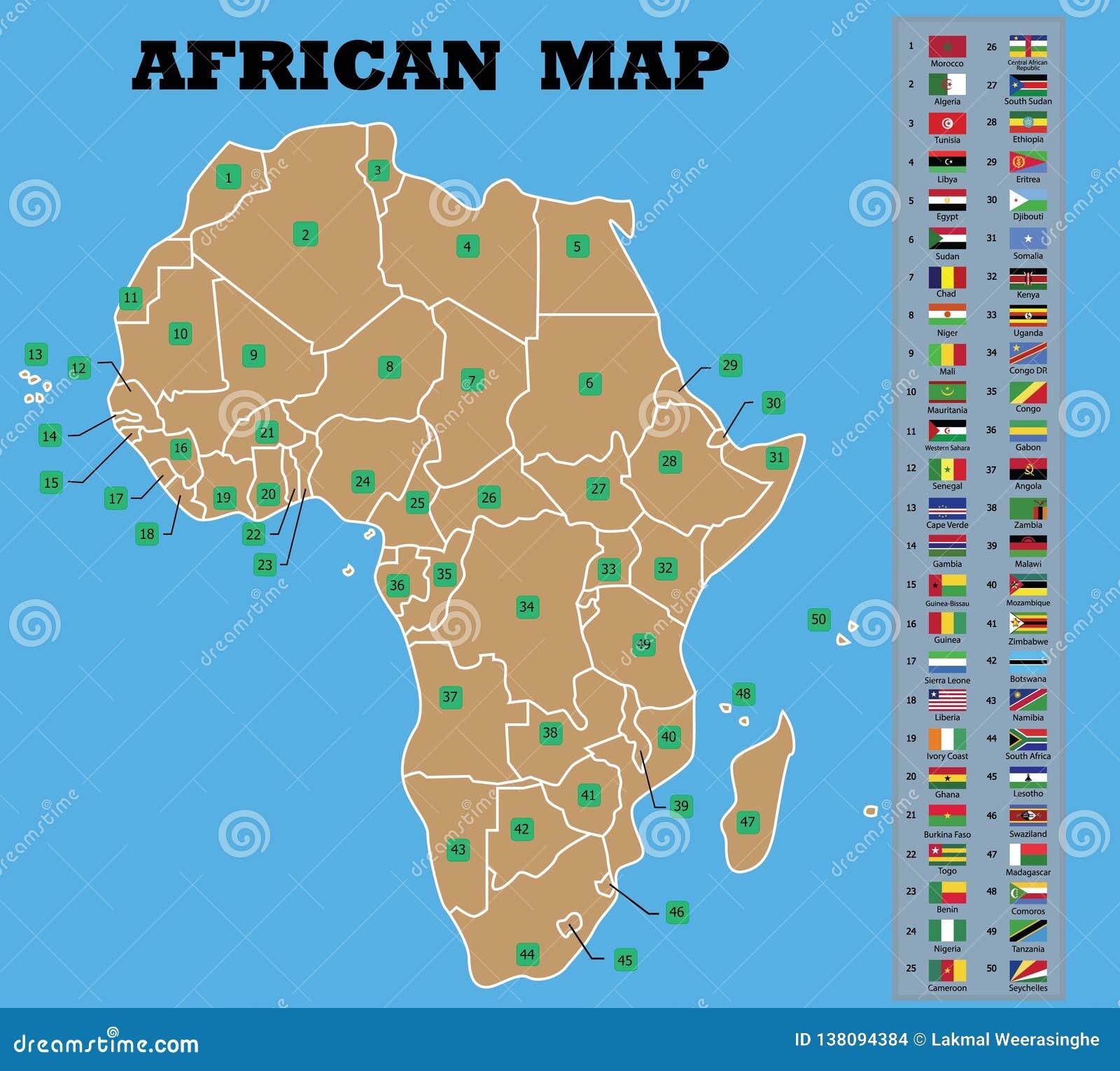 Mappa africana e bandiere africane delle contee