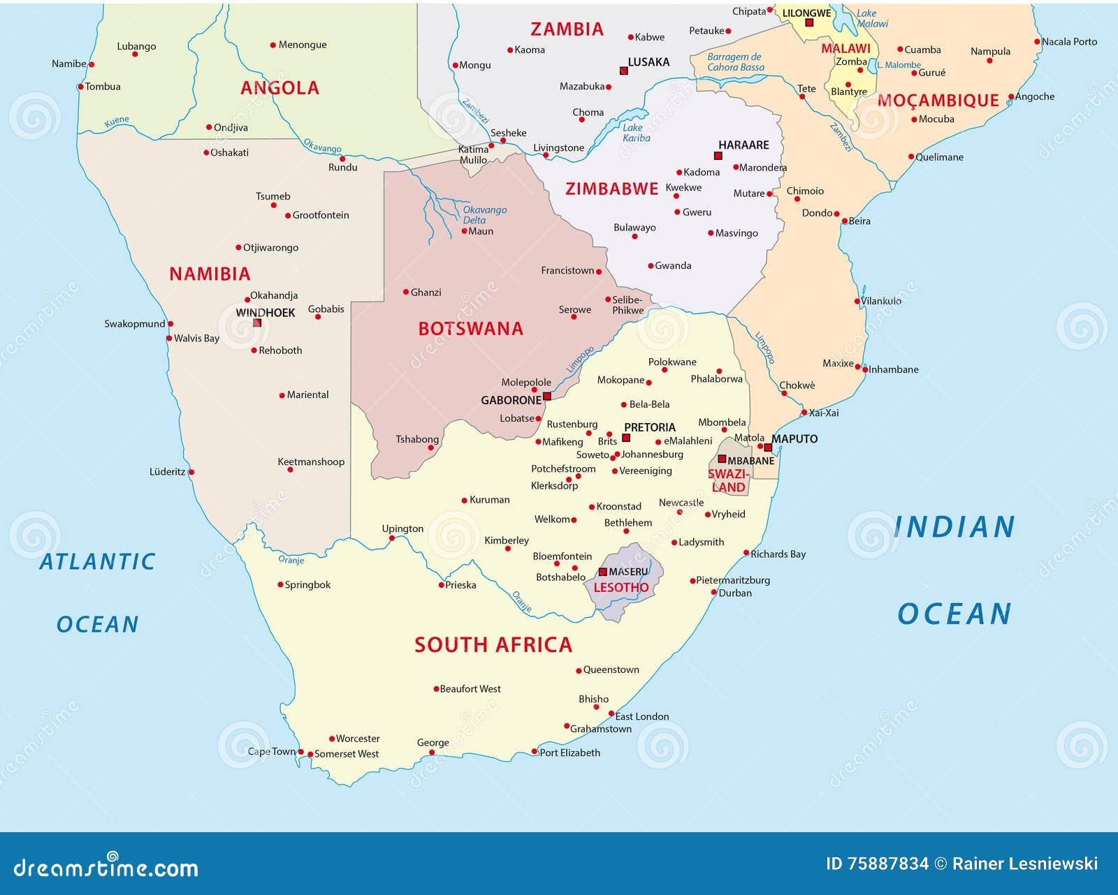 Cartina Dell Africa Meridionale.Mappa Amministrativa Degli Stati Dell Africa Del Sud Illustrazione Di Stock Illustrazione Di Cartografia Regione 75887834