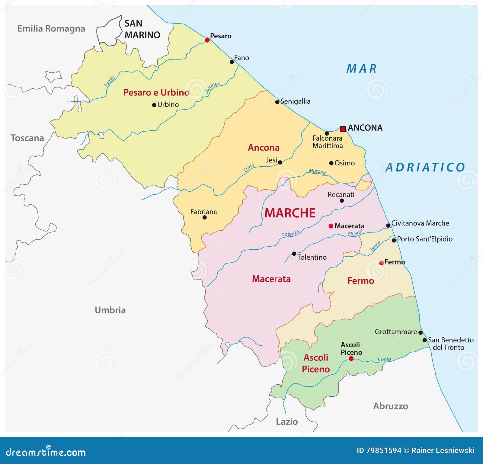 Le Marche Cartina Politica.Mappa Amministrativa Della Regione Italiana Marche Illustrazione Vettoriale Illustrazione Di Tracciato Bordo 79851594