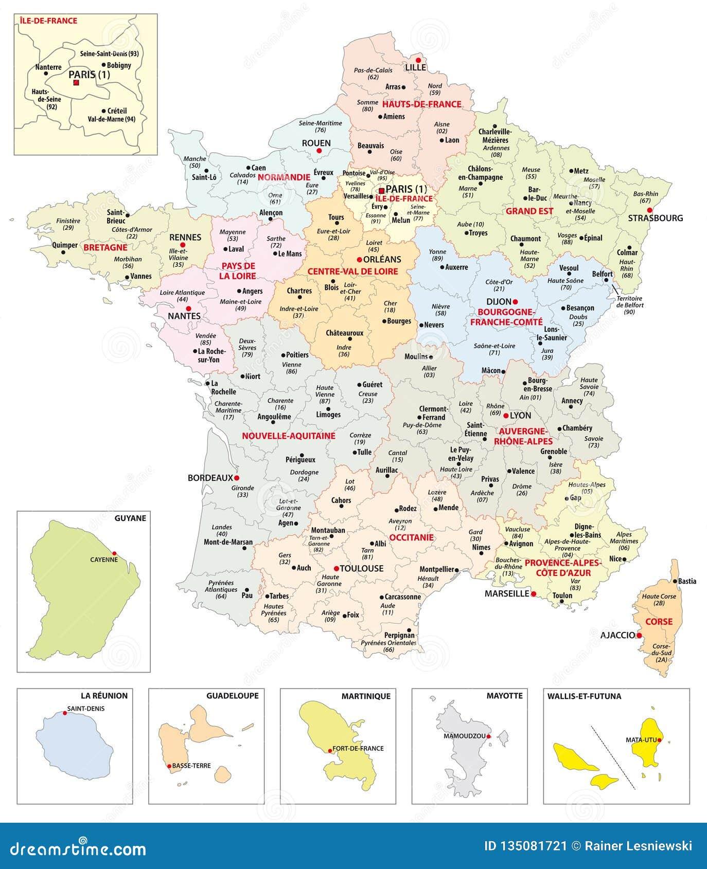 Cartina Geografica Francia Dettagliata.Mappa Amministrativa Delle 13 Regioni Della Francia E Dei