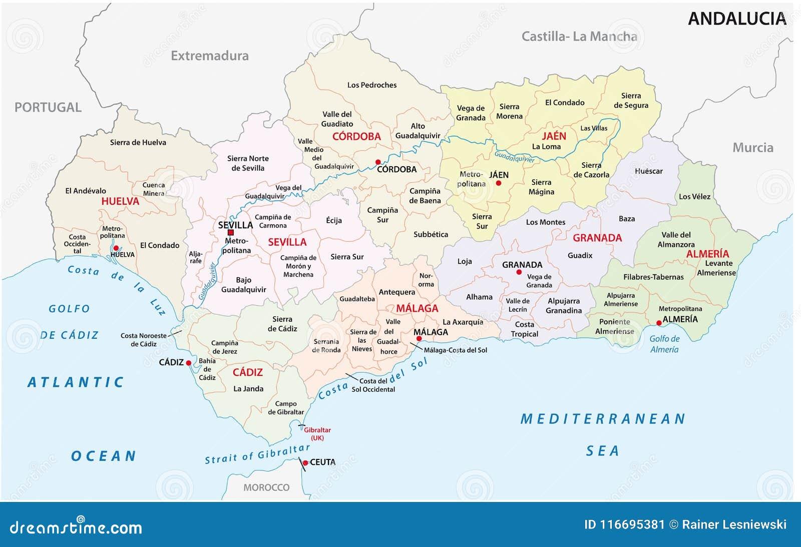 Spagna Andalusia Cartina.Mappa Amministrativa E Politica Dell Andalusia Di Vettore