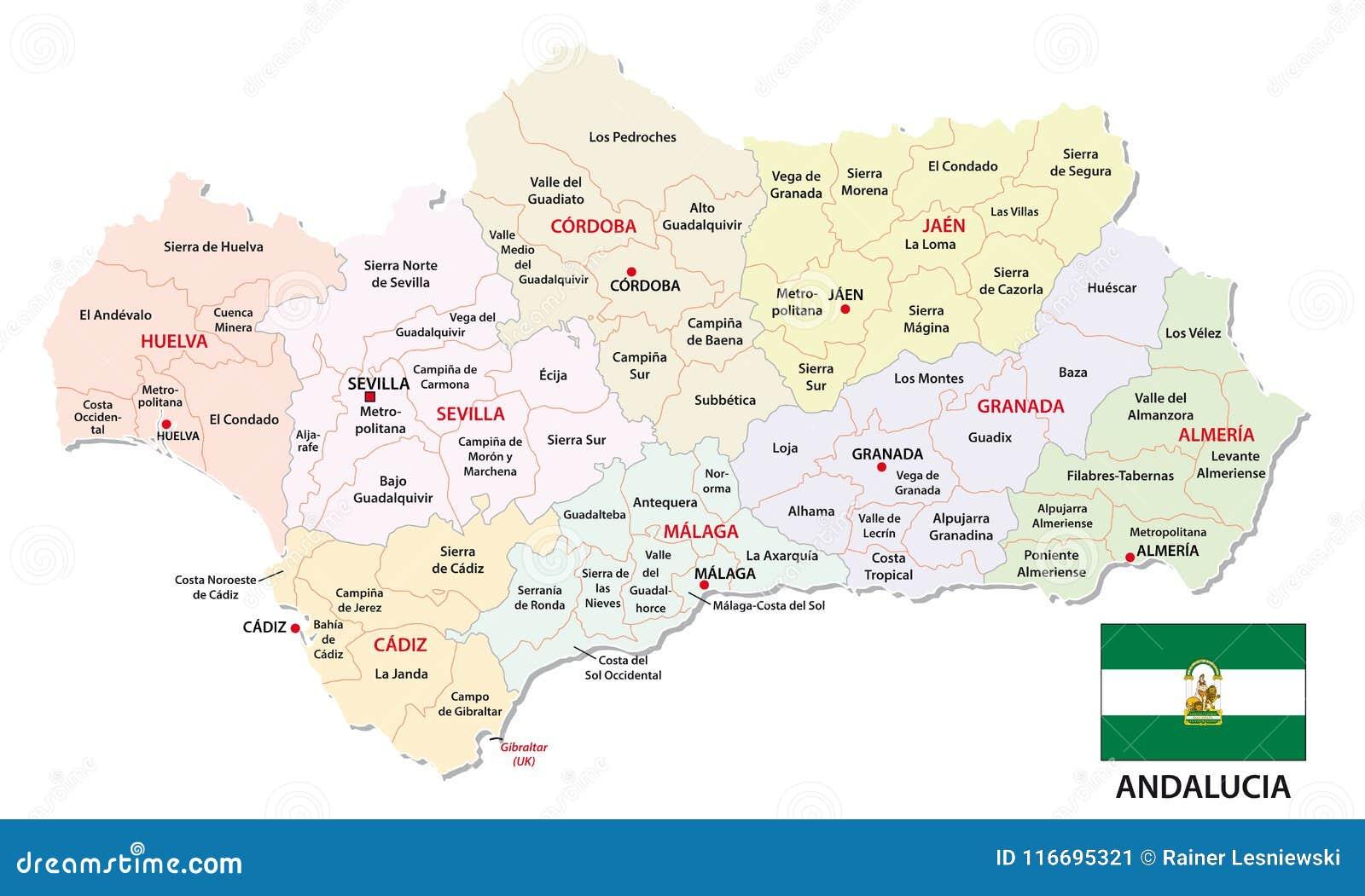 Cartina Dell Andalusia Spagna.Mappa Amministrativa E Politica Dell Andalusia Di Vettore Con La Bandiera Illustrazione Vettoriale Illustrazione Di Programma Geografia 116695321