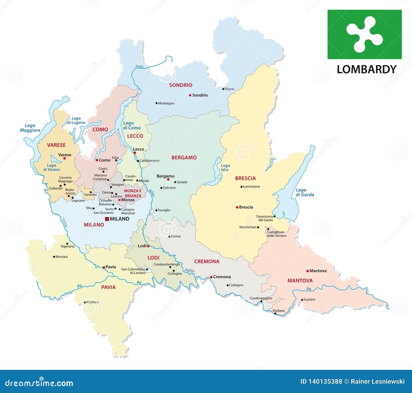 Cartina Lombardia E Province.Mappa Amministrativa E Politica Della Lombardia Con La Bandiera Illustrazione Vettoriale Illustrazione Di Distretto Cartografia 140135388