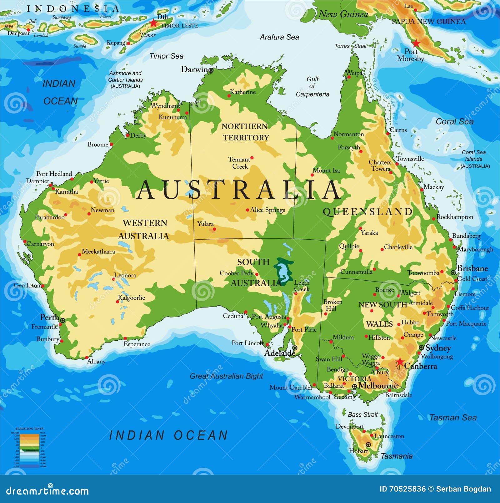 Cartina Geografica Dell Australia.Mappa Australia Fisica Illustrazione Vettoriale Illustrazione Di