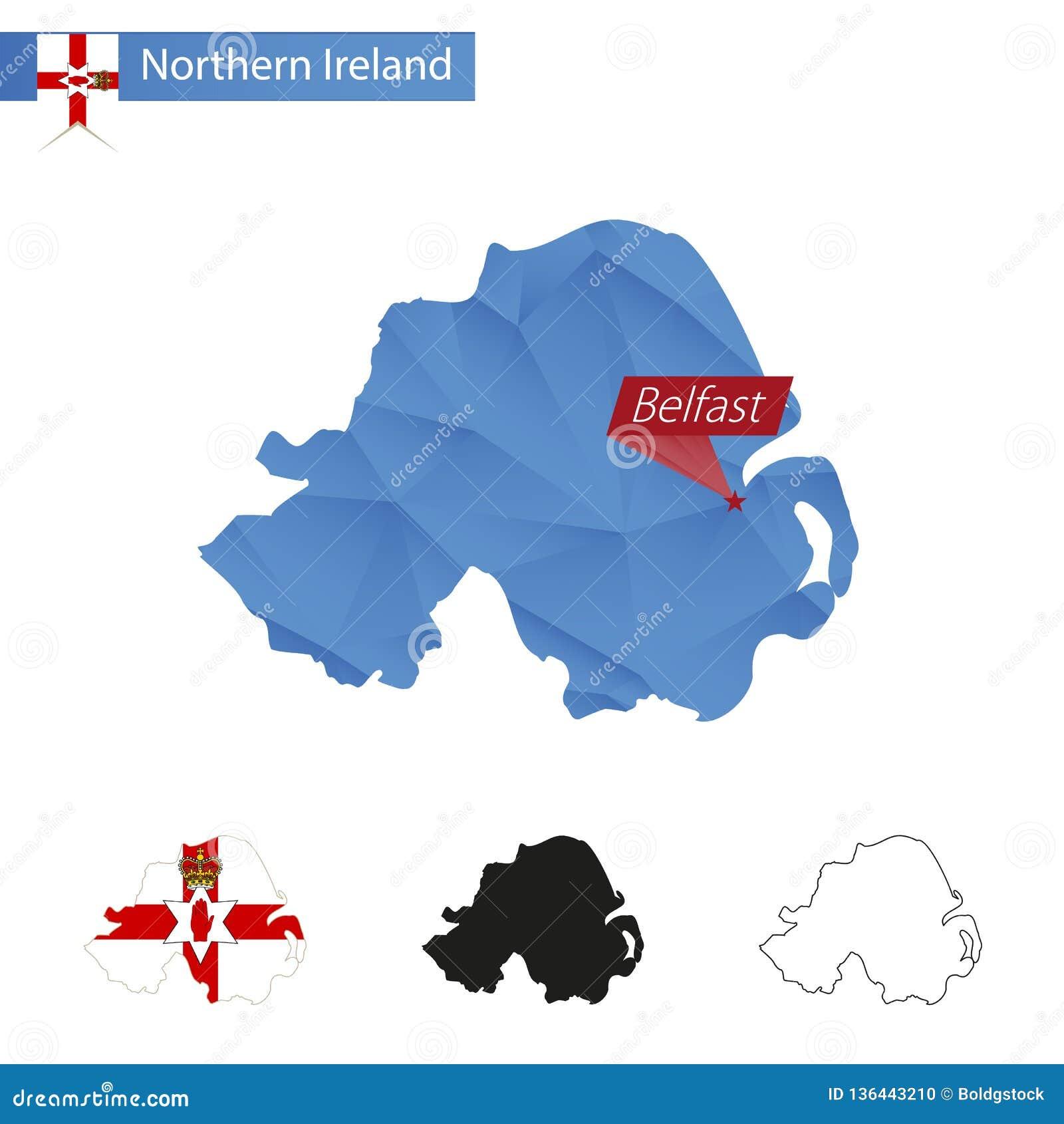 Irlanda Del Nord Cartina Geografica.Mappa Bassa Blu Dell Irlanda Del Nord Poli Con Capitale Belfast Illustrazione Vettoriale Illustrazione Di Geografico Nero 136443210