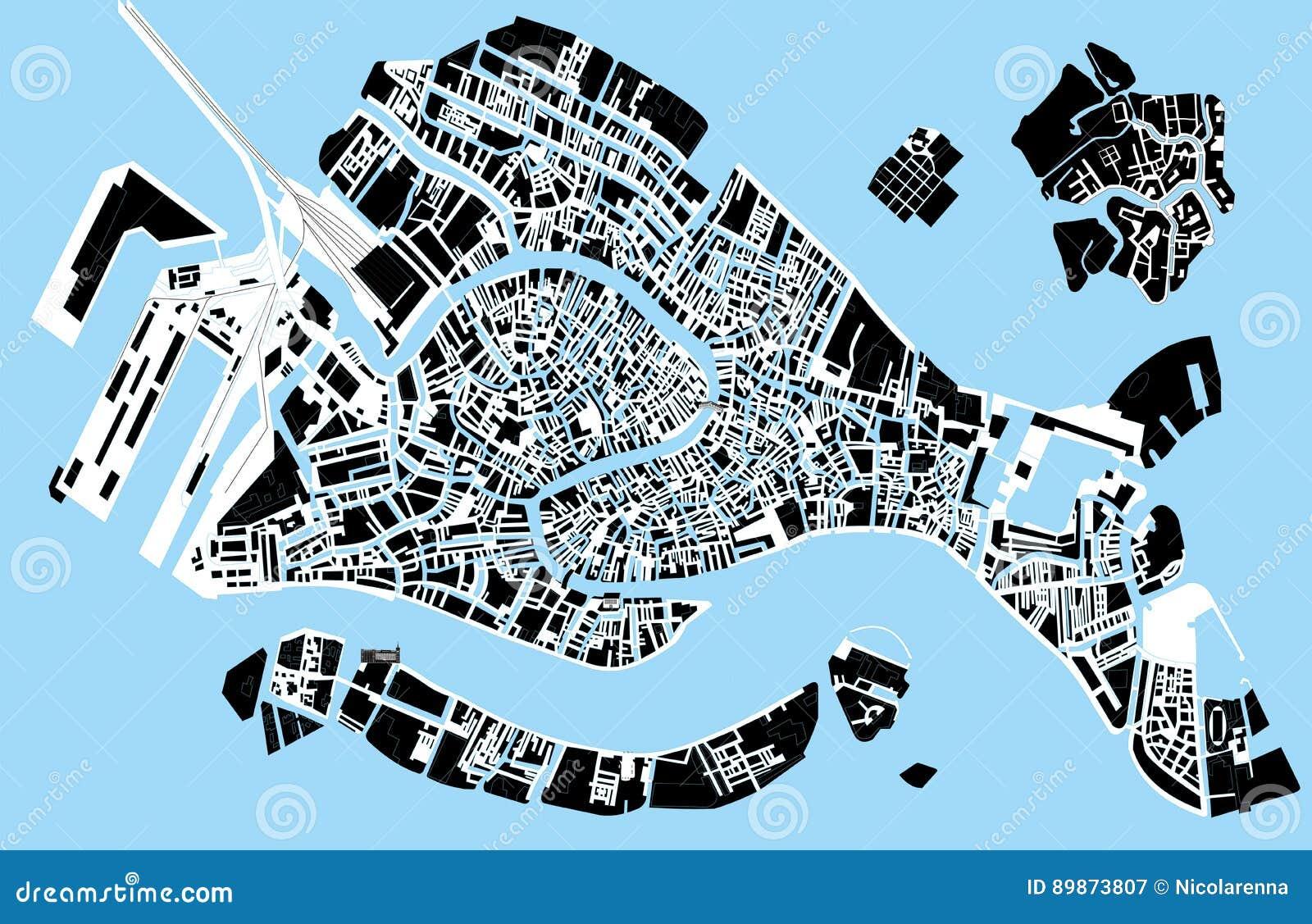Mappa in bianco e nero di venezia illustrazione vettoriale for Mappa mondo bianco e nero