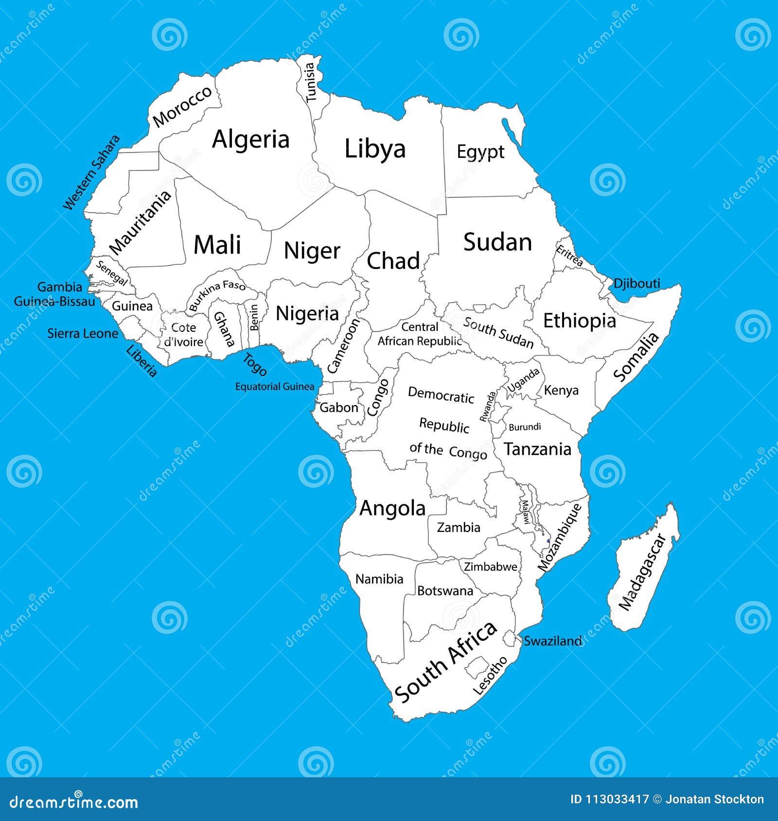 Cartina Dell Africa In Bianco E Nero.Mappa In Bianco Editabile Di Vettore Dell Africa Mappa Di Vettore Dell Africa Illustrazione Vettoriale Illustrazione Di Programma Isolato 113033417