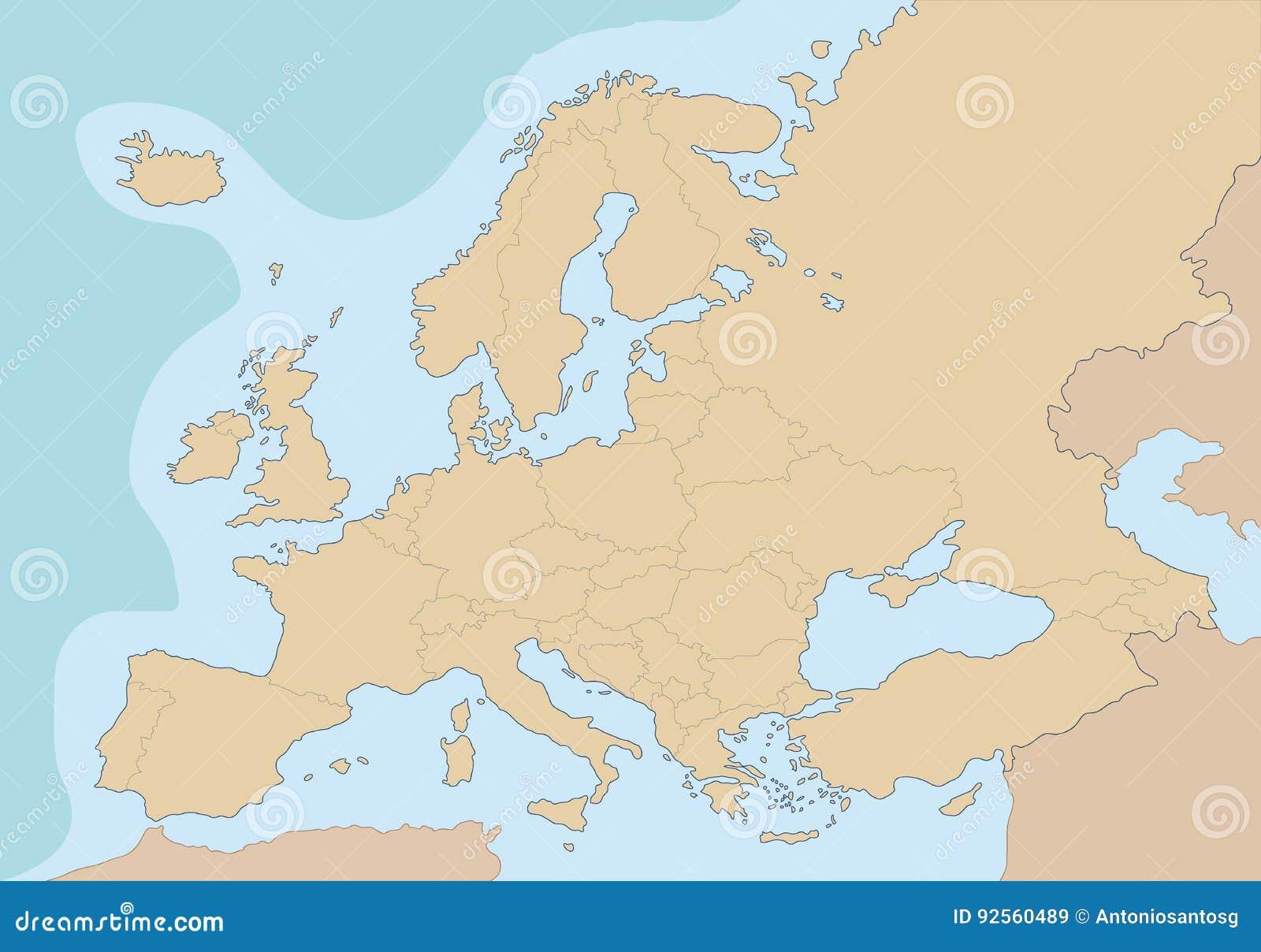 Mappa in bianco politica di Europa