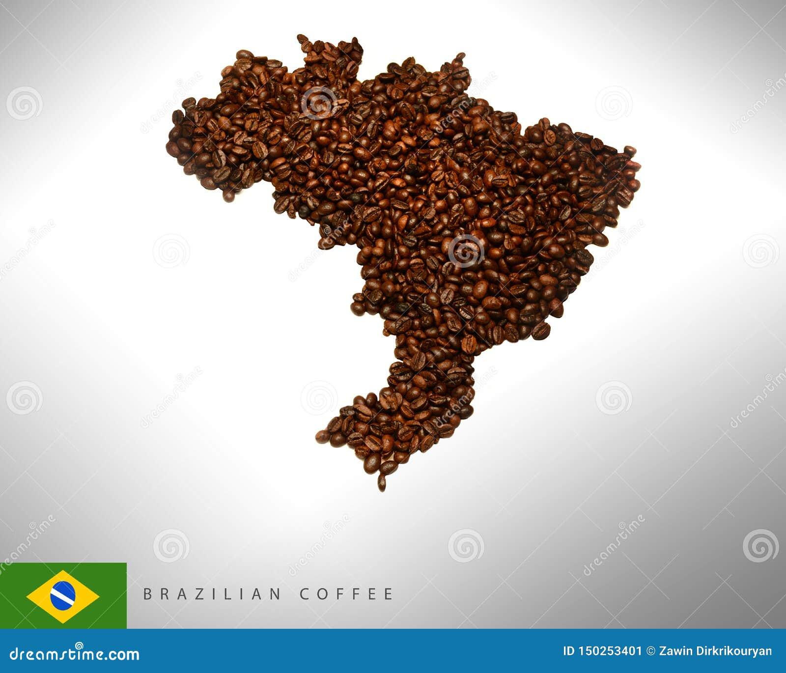 Mappa brasiliana con i chicchi di caffè, fotografia,