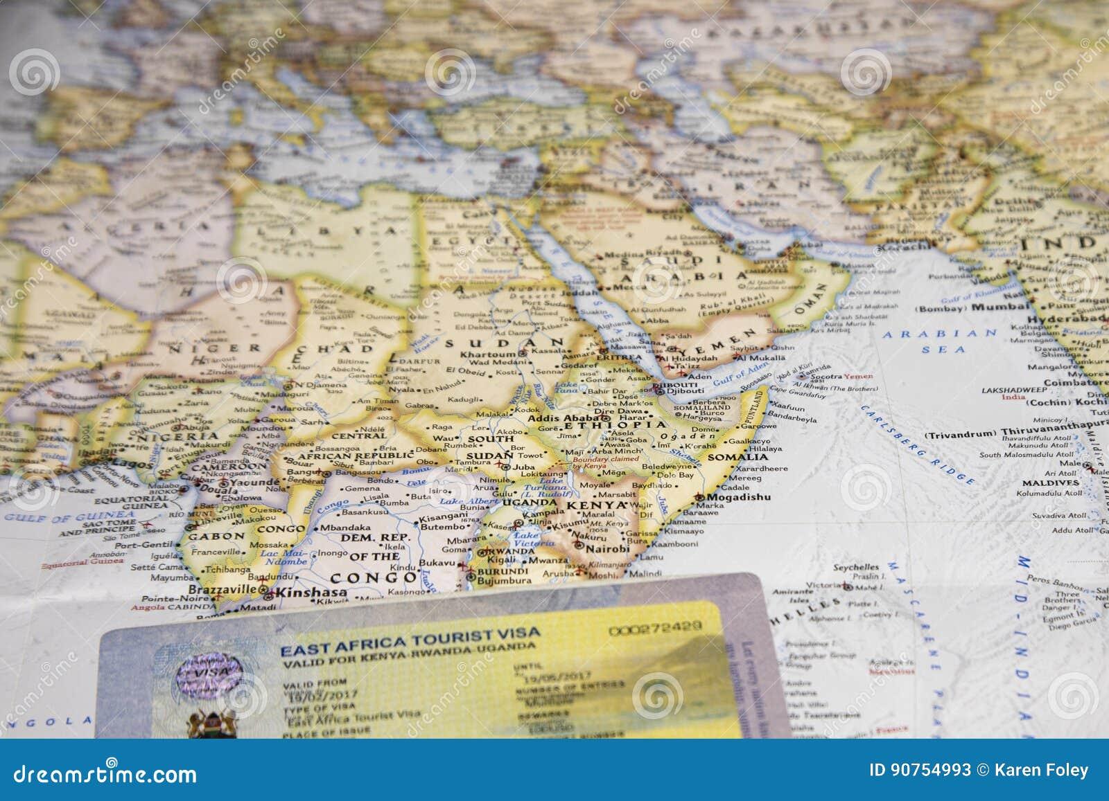 Cartina Dell Africa Orientale.Mappa Con Il Visto Turistico Dell Africa Orientale In