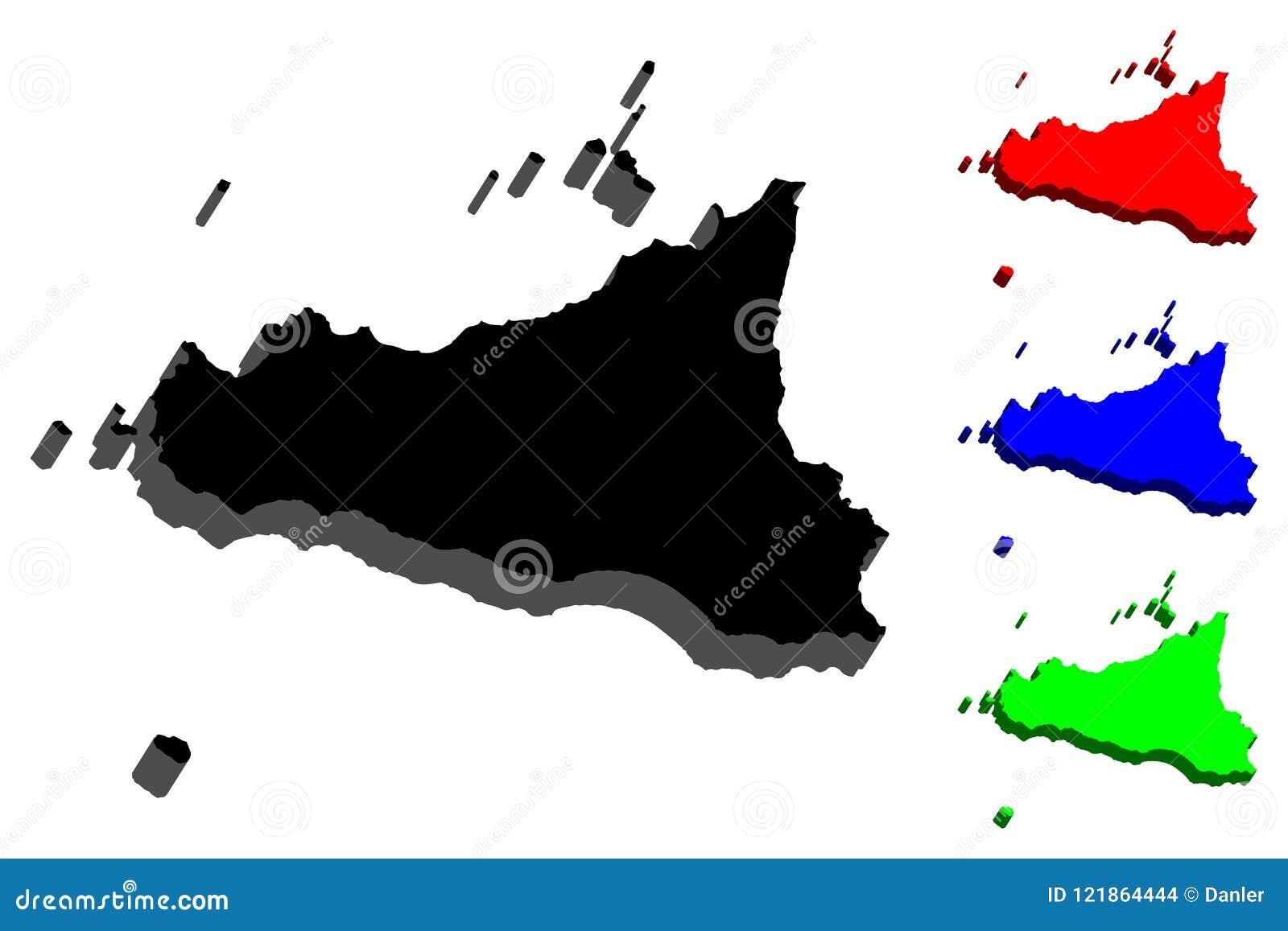 Cartina Della Sicilia Con Le Isole.Mappa 3d Della Sicilia Illustrazione Vettoriale Illustrazione Di Disegno 121864444
