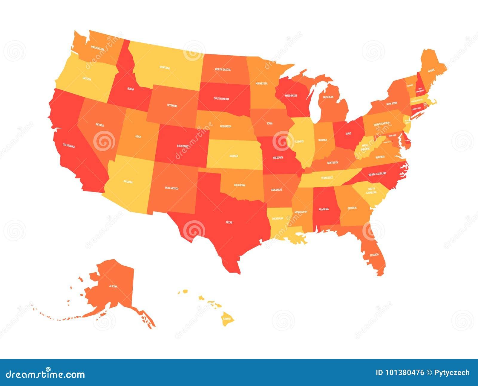 La Cartina Degli Stati Uniti D America.Mappa Degli Stati Uniti D America U S A In Quattro Tonalita Di Arancio E Di Rosso Con Le Etichette Bianche Dello Stato Vettore Illustrazione Vettoriale Illustrazione Di Nord America 101380476