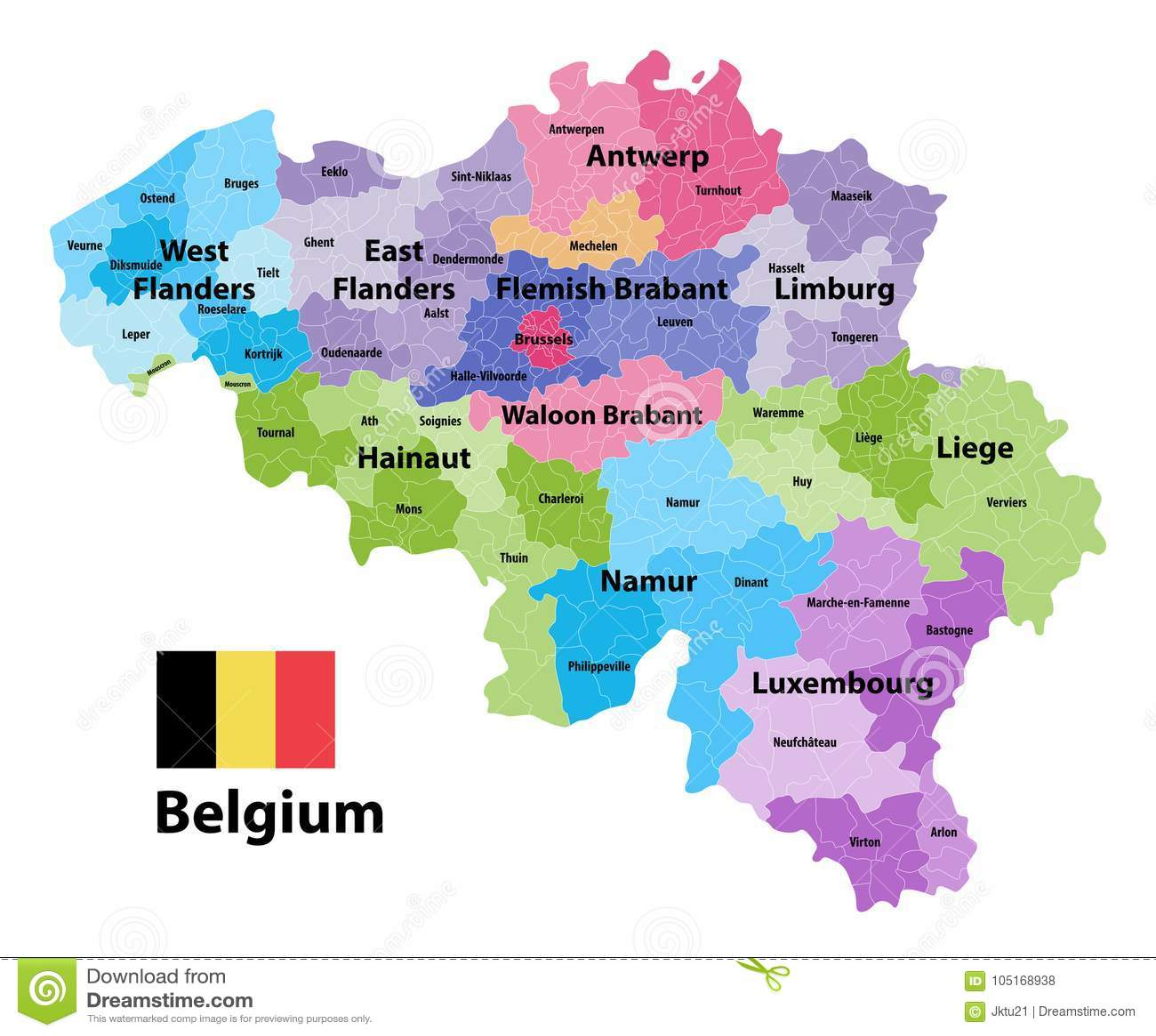 Cartina Del Belgio In Italiano.Mappa Del Belgio Che Mostra Le Province Ed I Comuni Amministrativi
