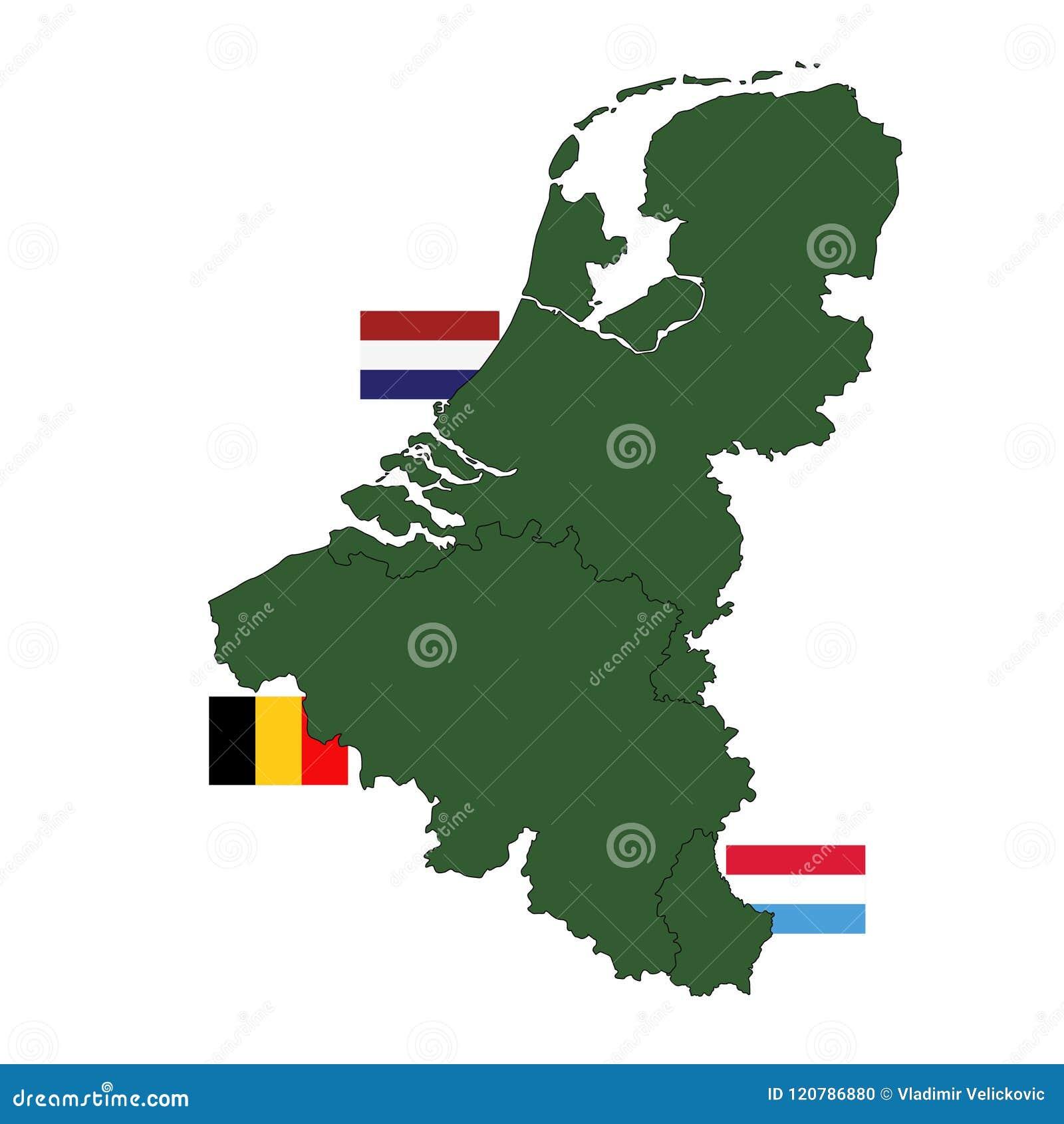 Mappa del benelux e bandiere tre stati in europa - Mappa di ungheria ed europa ...