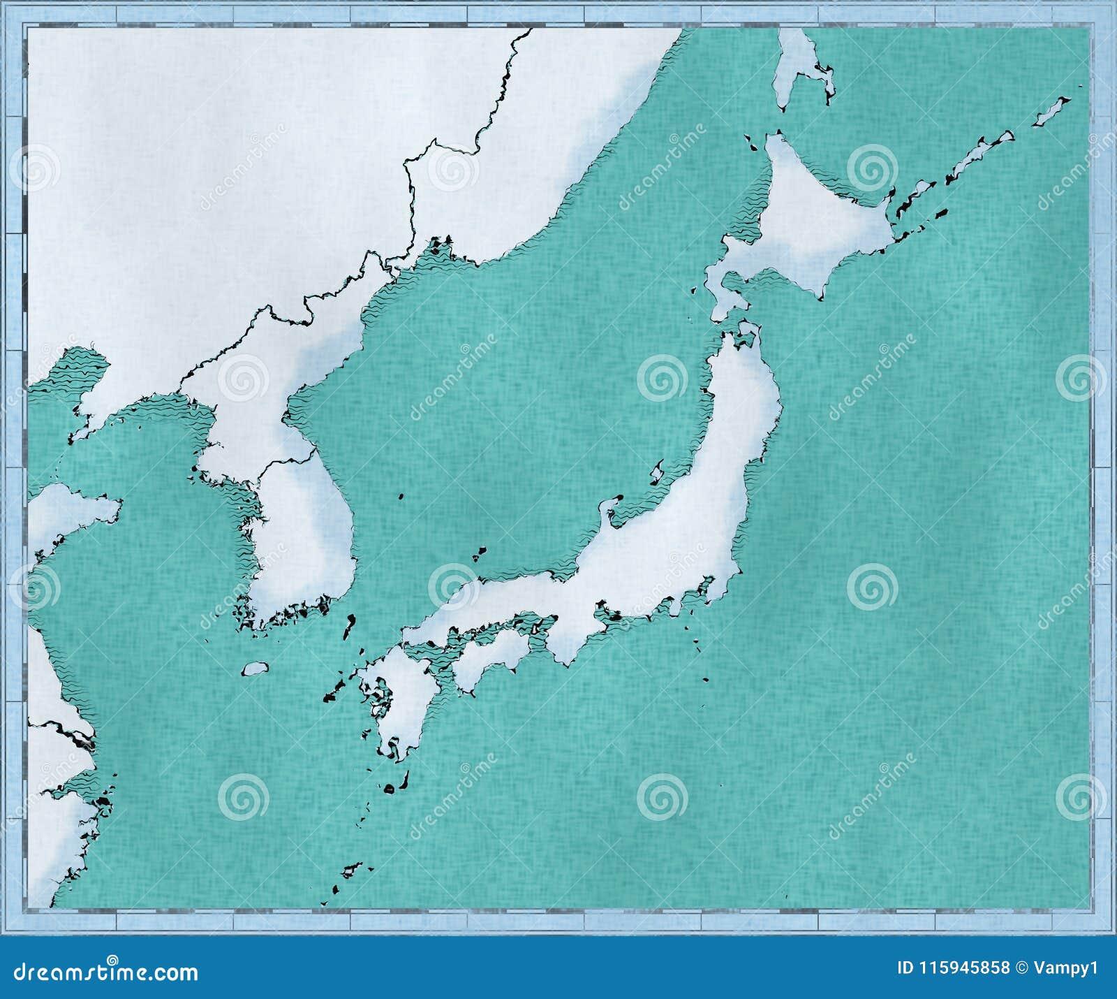 Cartina Muta Del Giappone.Mappa Del Giappone La Corea Del Nord E La Corea Del Sud