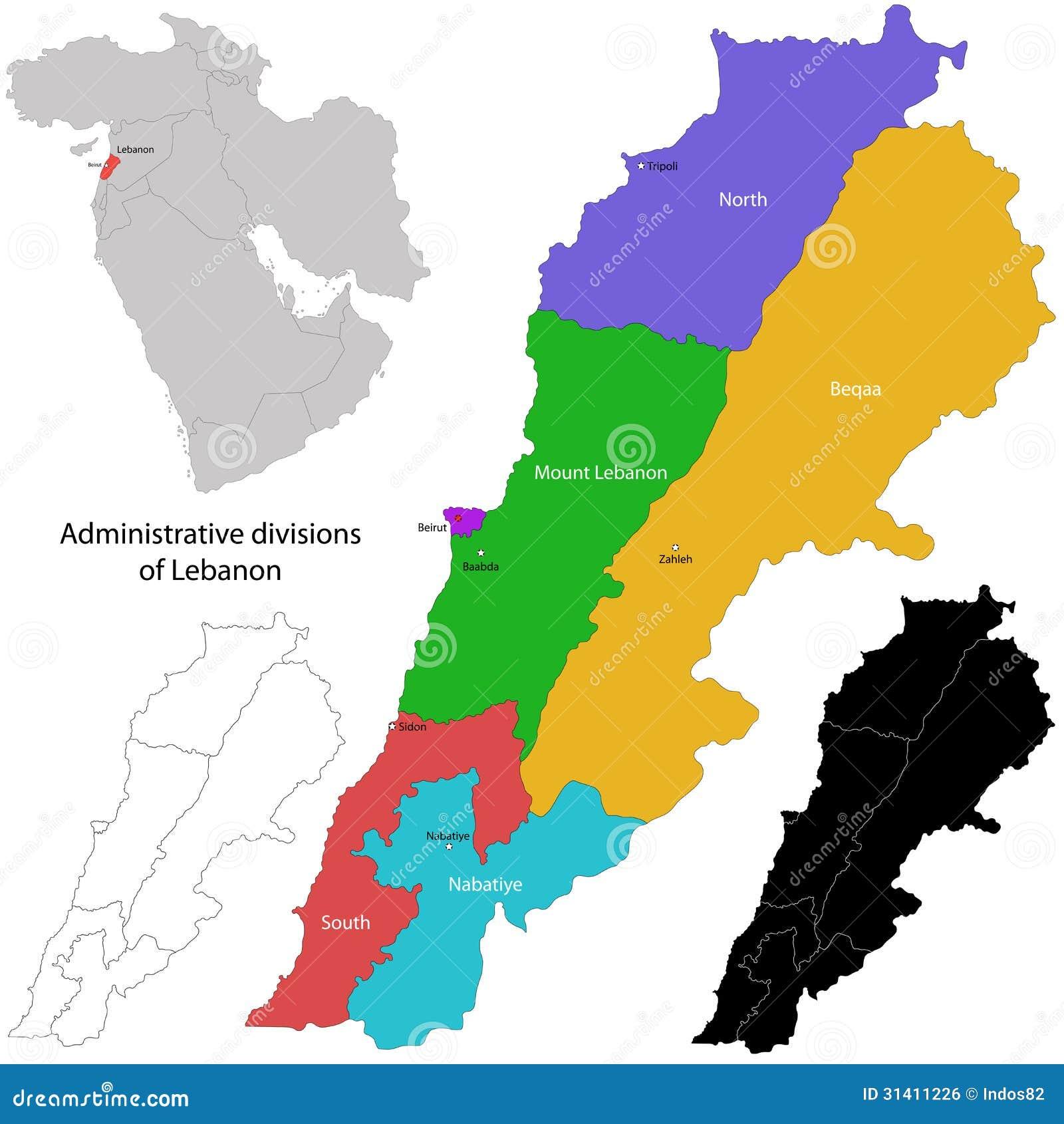 Cartina Del Libano.Mappa Del Libano Illustrazione Vettoriale Illustrazione Di Asiatico 31411226