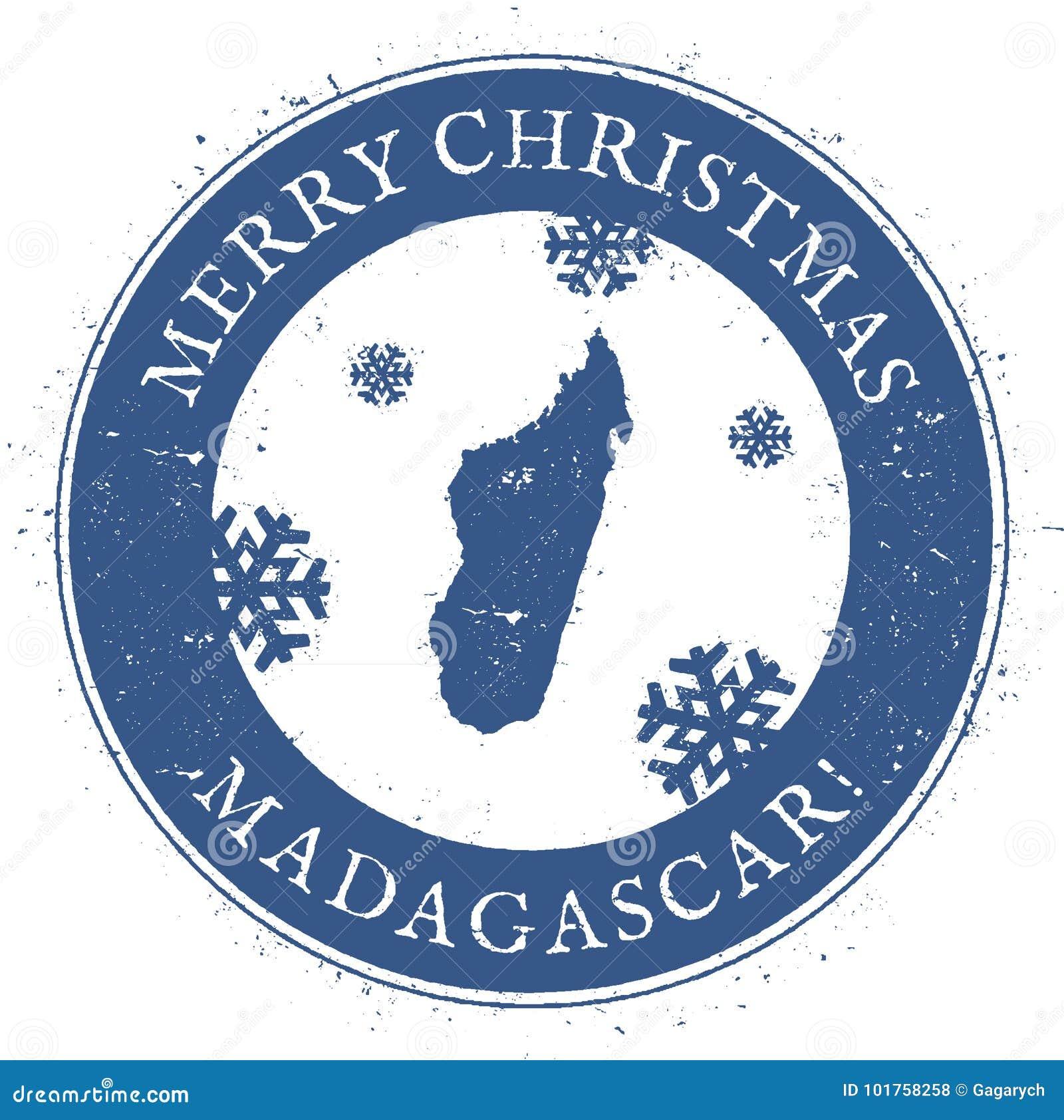 Buon Natale Madagascar.Mappa Del Madagascar Buon Natale D Annata Illustrazione Vettoriale