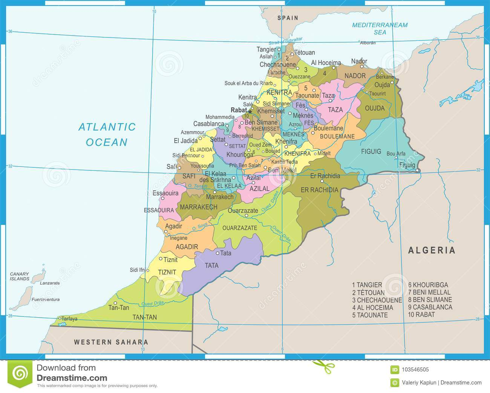 Cartina Geografica Marocco.Mappa Del Marocco Illustrazione Dettagliata Di Vettore