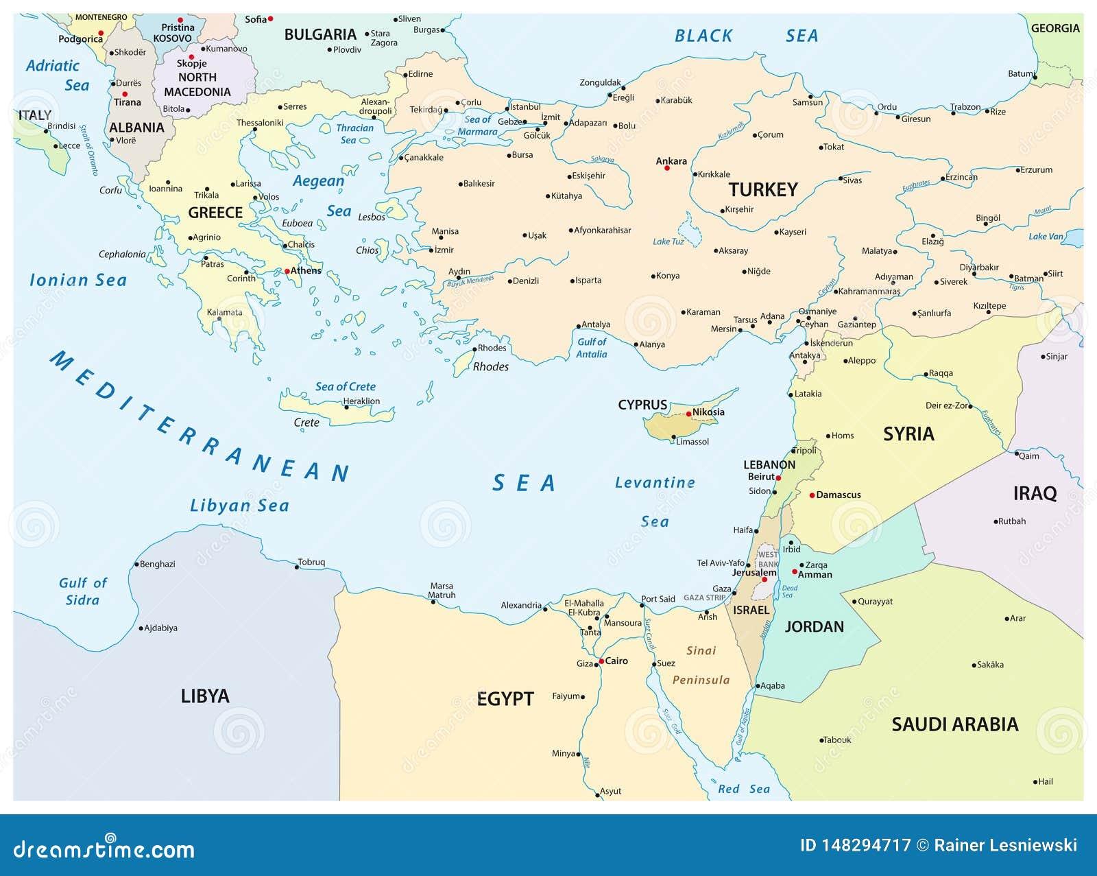 Cartina Fisica Mediterraneo Orientale.Mappa Del Paese Del Mar Mediterraneo Orientale Illustrazione Di Stock Illustrazione Di Greece Egitto 148294717
