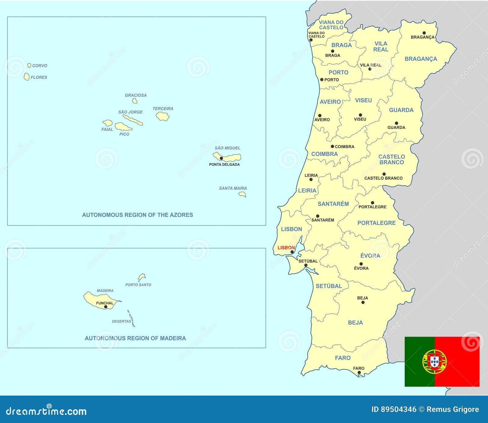 Cartina Geografica Portogallo E Isole.Mappa Del Portogallo Illustrazione Vettoriale Illustrazione Di Isole 89504346