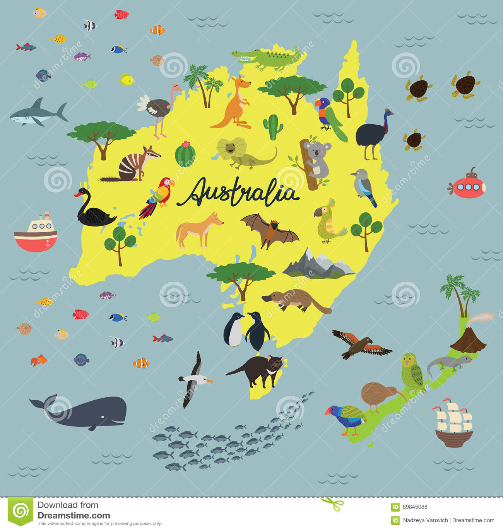 Cartina Australia E Nuova Zelanda.Mappa Del Regno Animale Dell Australia E Della Nuova Zelanda