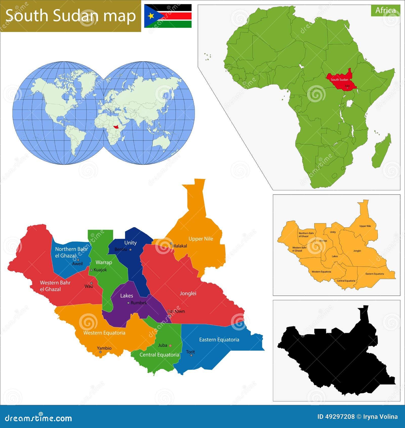 Mappa del sud del Sudan