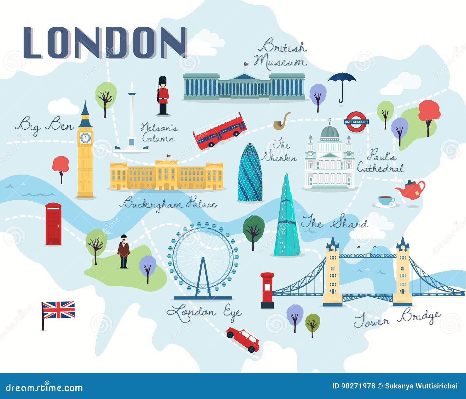 Cartina Di Londra Con Monumenti.Mappa Del Vettore E Dell Illustrazione Delle Attrazioni Di Londra Illustrazione Di Stock Illustrazione Di Londra Isolato 90271978