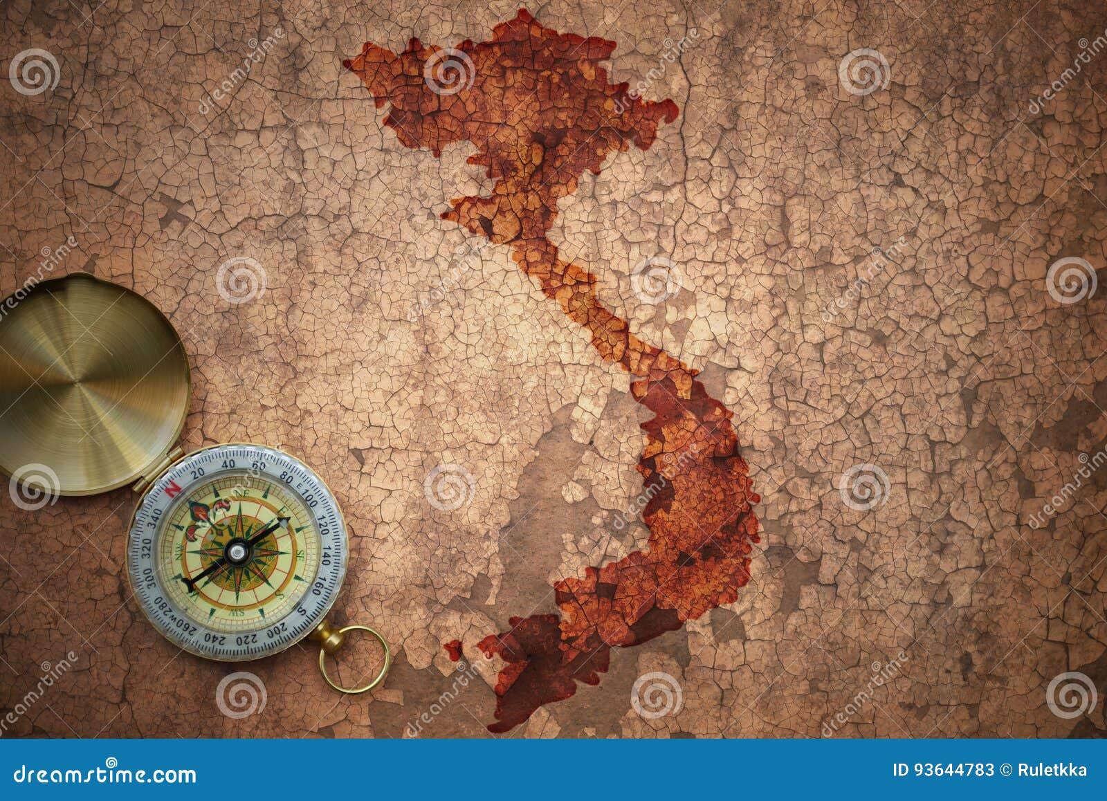 Mappa del Vietnam su una vecchia carta d annata della crepa