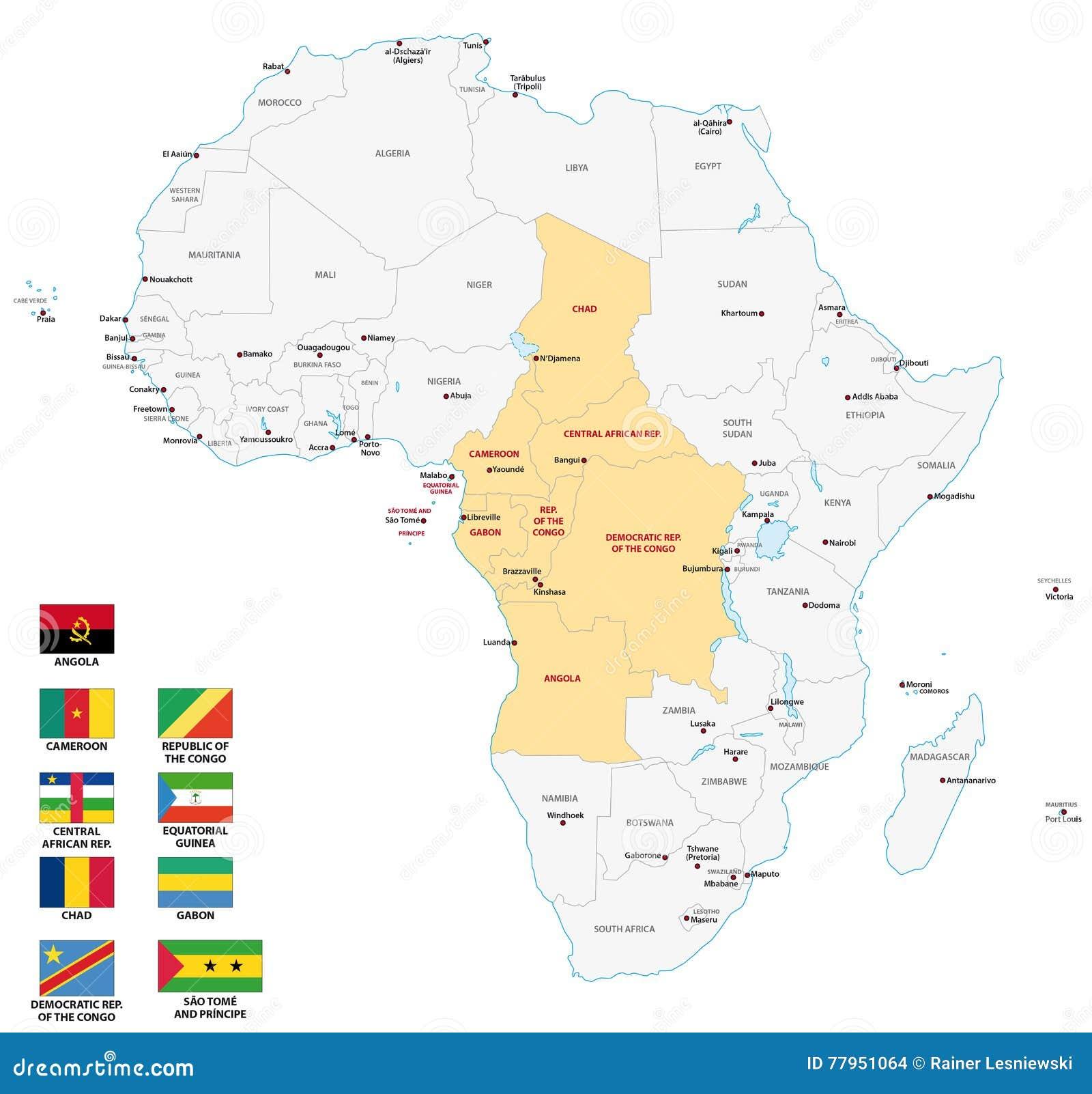 Cartina Africa Centrale.Mappa Dell Africa Centrale Con Le Bandiere Illustrazione