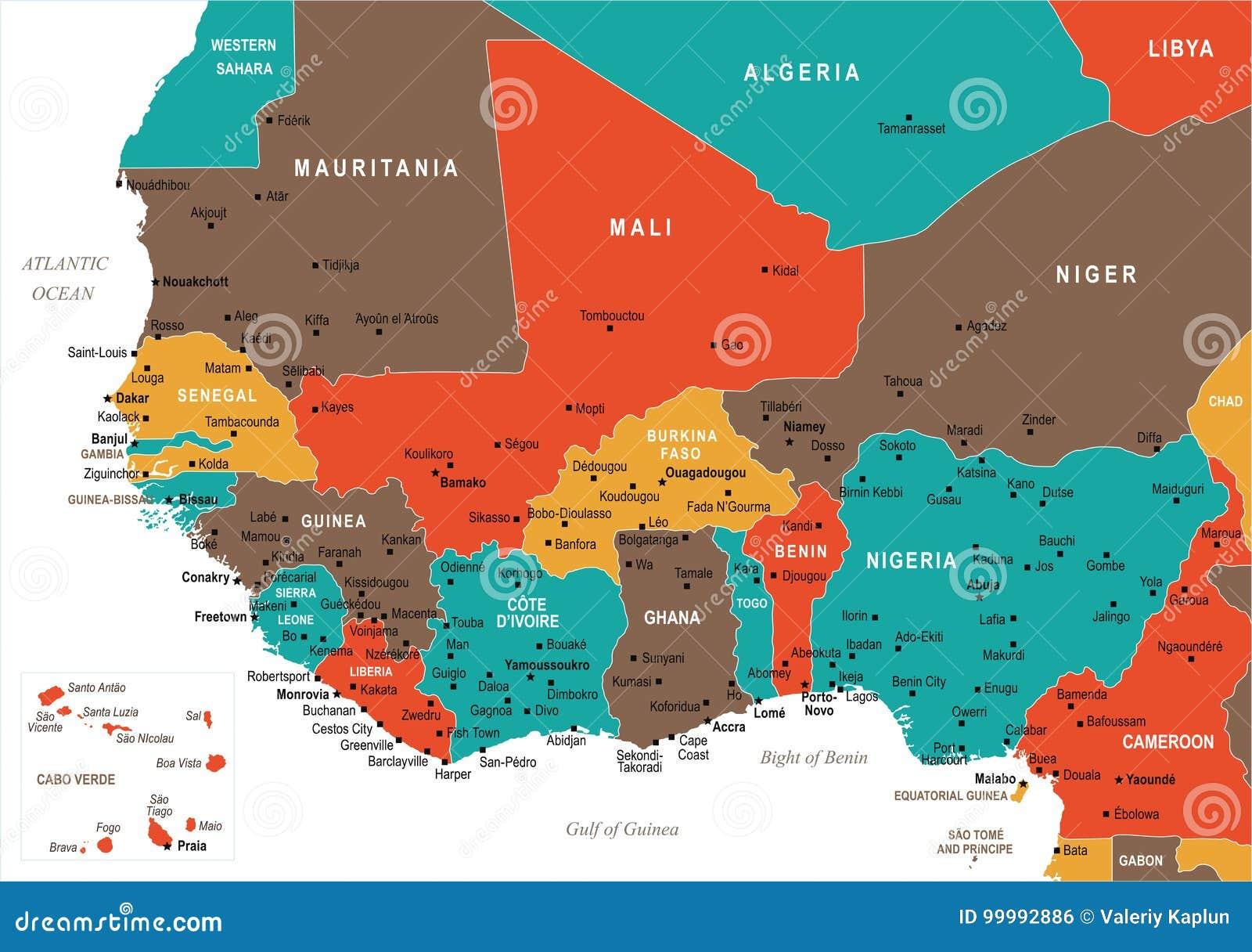 Africa Occidentale Cartina Geografica.Mappa Dell Africa Occidentale Illustrazione Di Vettore Illustrazione Di Stock Illustrazione Di Cameroon Geografico 99992886