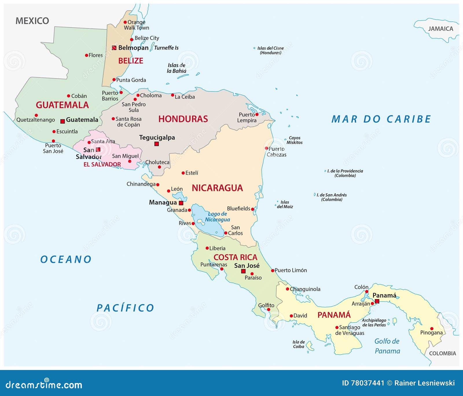 Stati America Centrale Cartina.Mappa Dell America Centrale Degli Stati Illustrazione