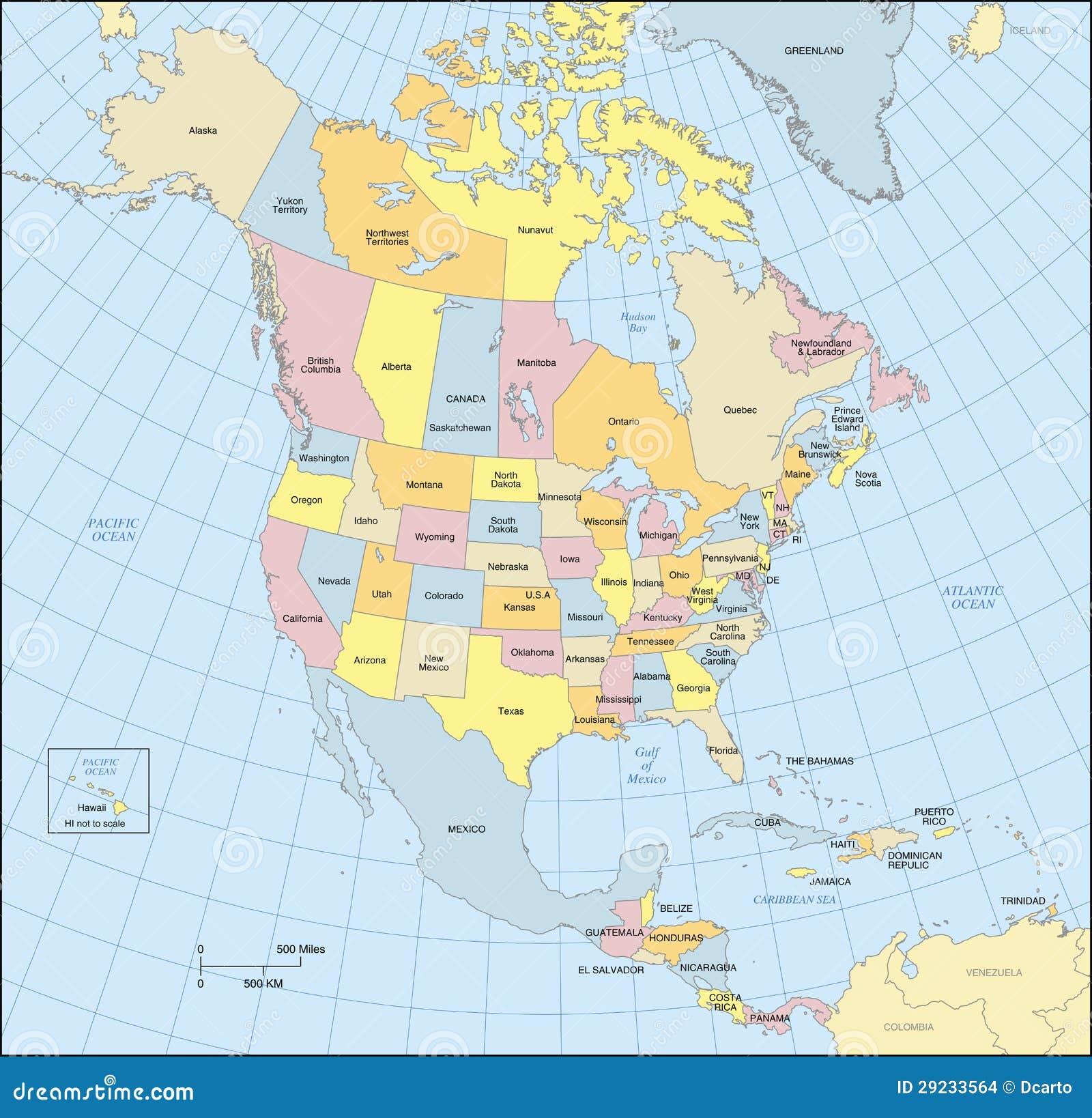 Stati America Del Nord Cartina.Mappa Dell America Settentrionale Illustrazione Vettoriale