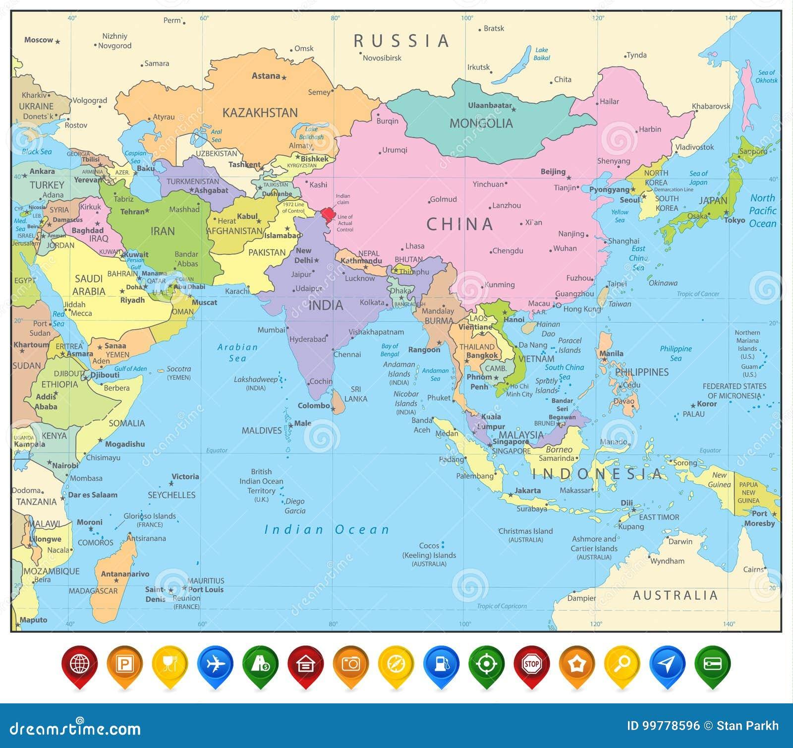 Asia Orientale Cartina Politica.Mappa Dell Asia Meridionale E Puntatori Politici Della Mappa