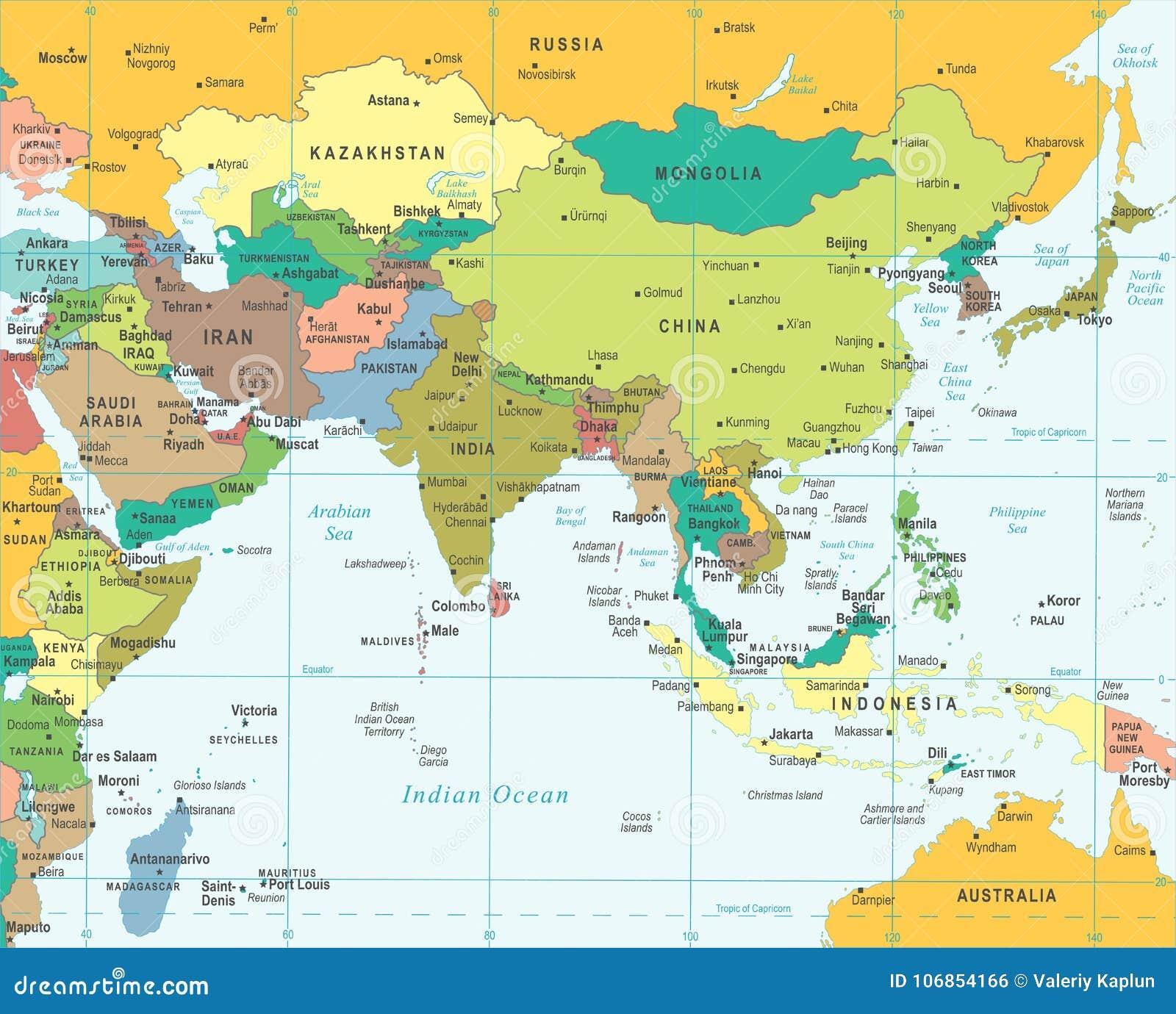 La Cartina Geografica Dell Asia.Mappa Dell Asia Meridionale Illustrazione Di Vettore