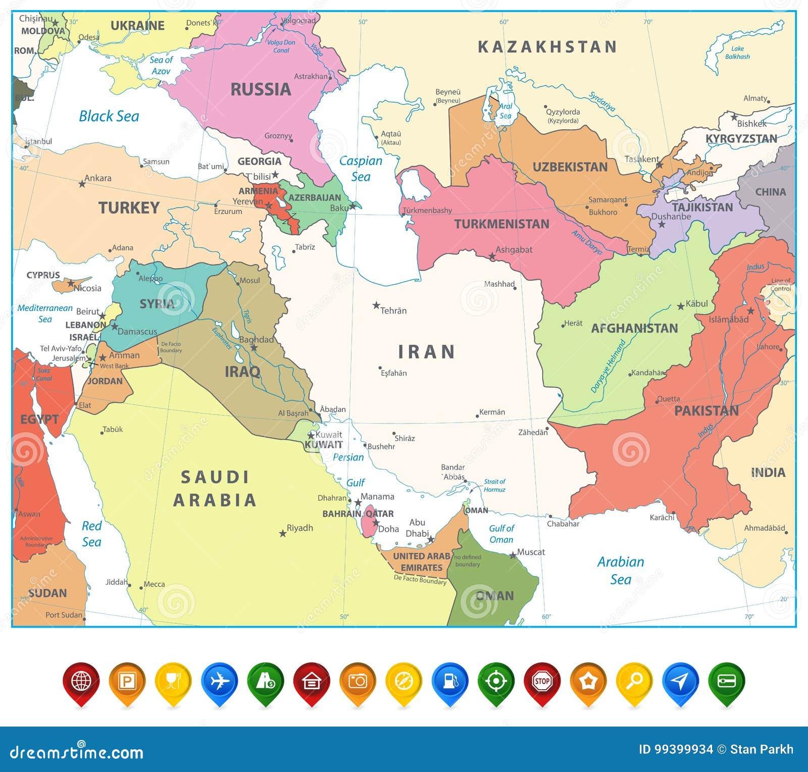Cartina Asia Occidentale.Mappa Dell Asia Occidentale Ed Indicatori Della Mappa Isolati Su Bianco Illustrazione Vettoriale Illustrazione Di Posizioni Globo 99399934