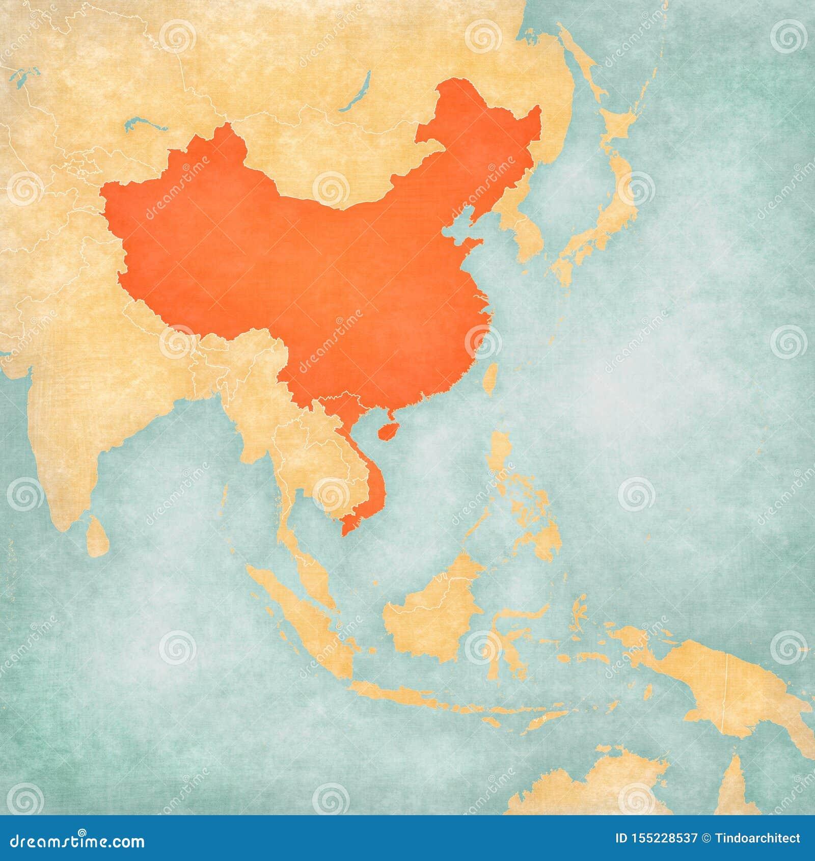 Cartina Dell Asia Orientale.Mappa Dell Asia Orientale La Cina Ed Il Vietnam Illustrazione Di Stock Illustrazione Di Grungy Annata 155228537