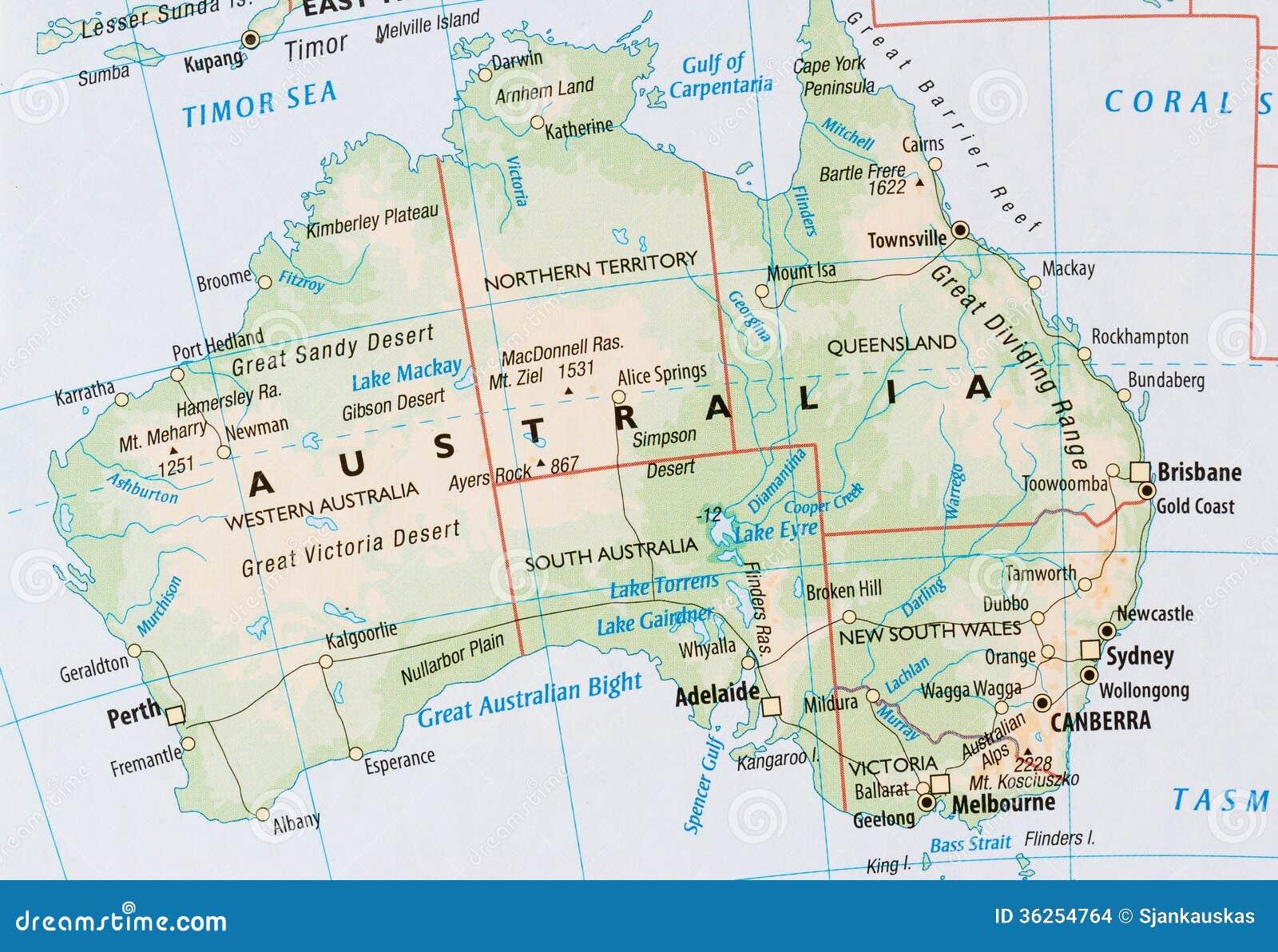 Australia Carta Fisica Laceprof Materiali