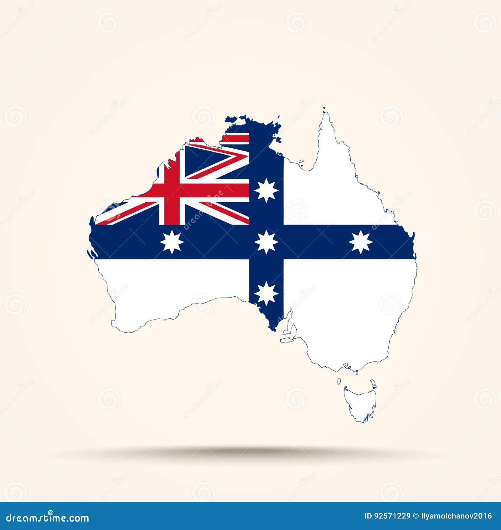 Mappa dell Australia nei colori australiani della bandiera di federazione
