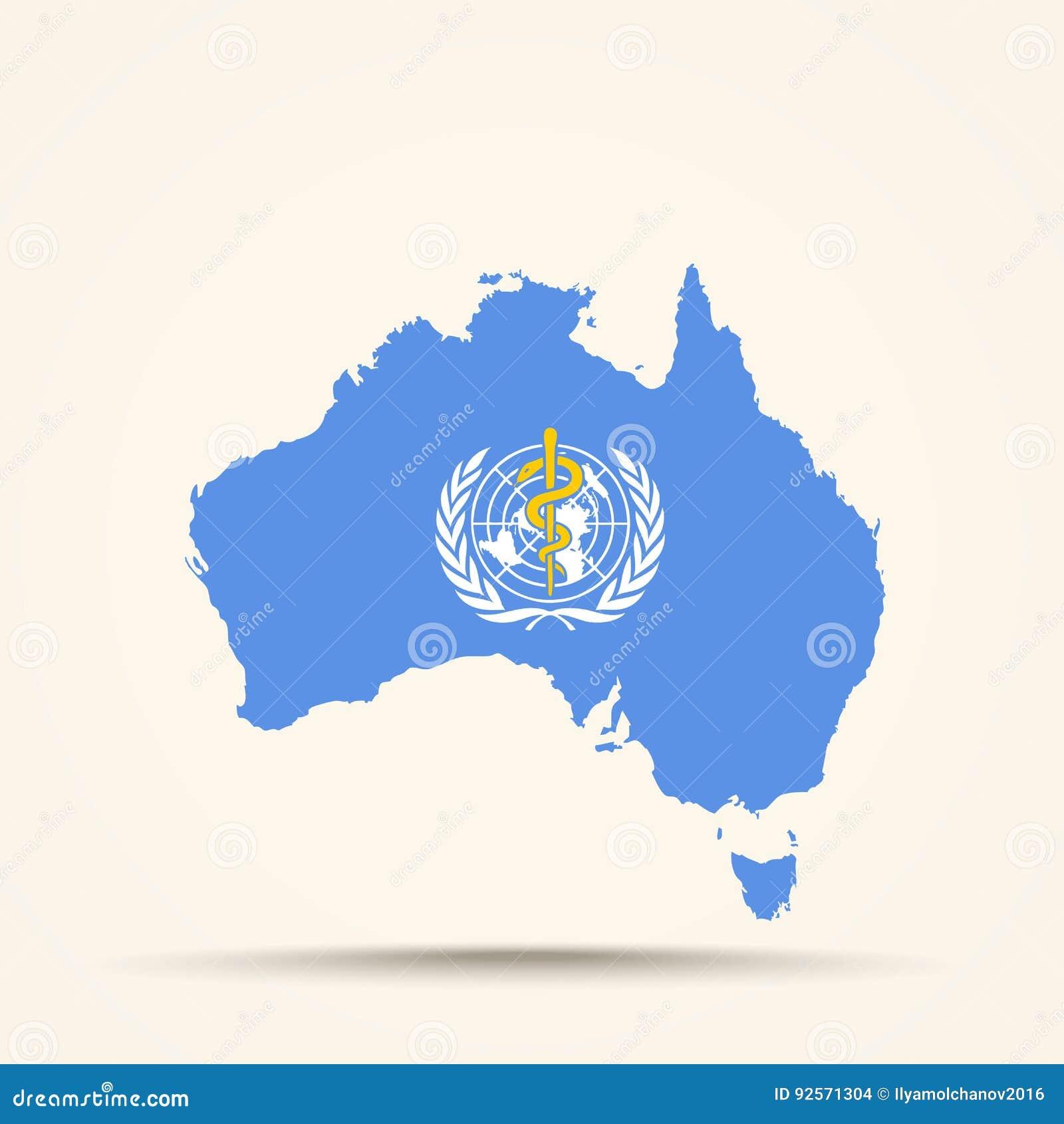 Mappa dell Australia nei colori della bandiera dell organizzazione mondiale della sanità