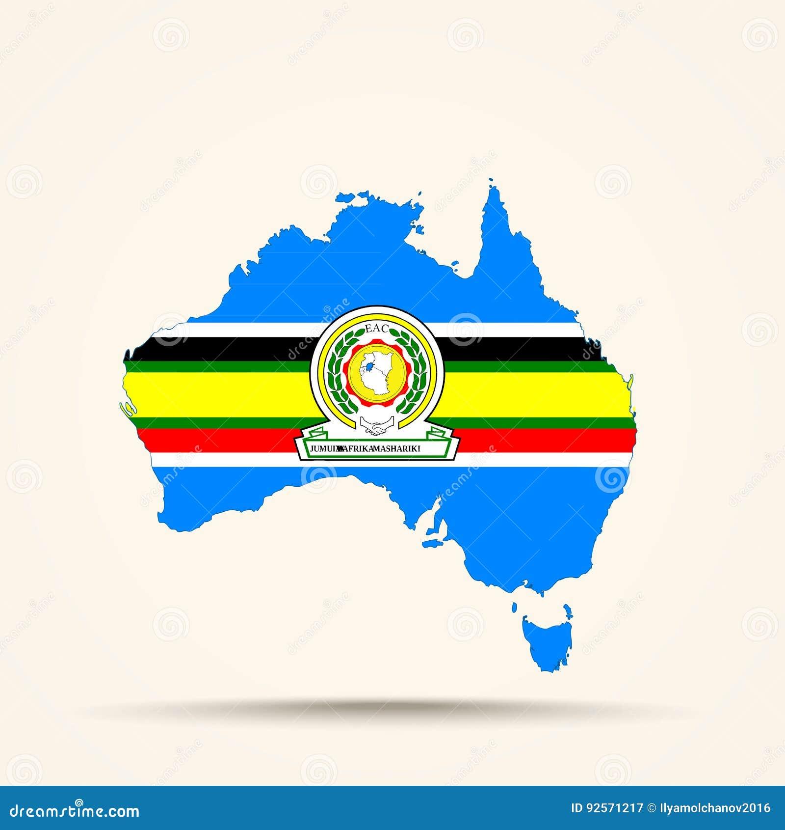 Mappa dell Australia nei colori della bandiera della Comunità africana orientale